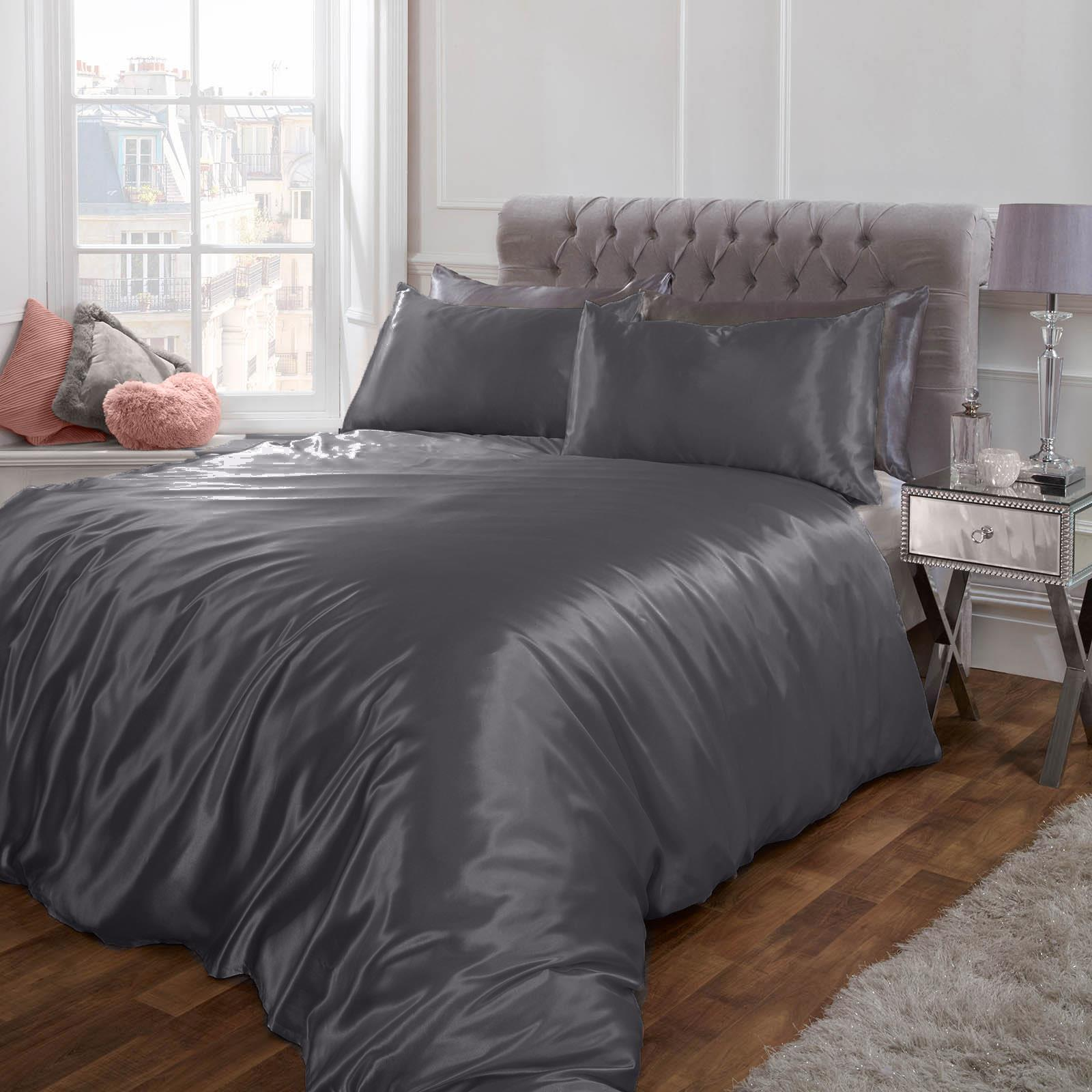 thumbnail 23 - Sienna Satin Silk Duvet Cover with Pillowcases Bedding Set, Blush Pink Silver