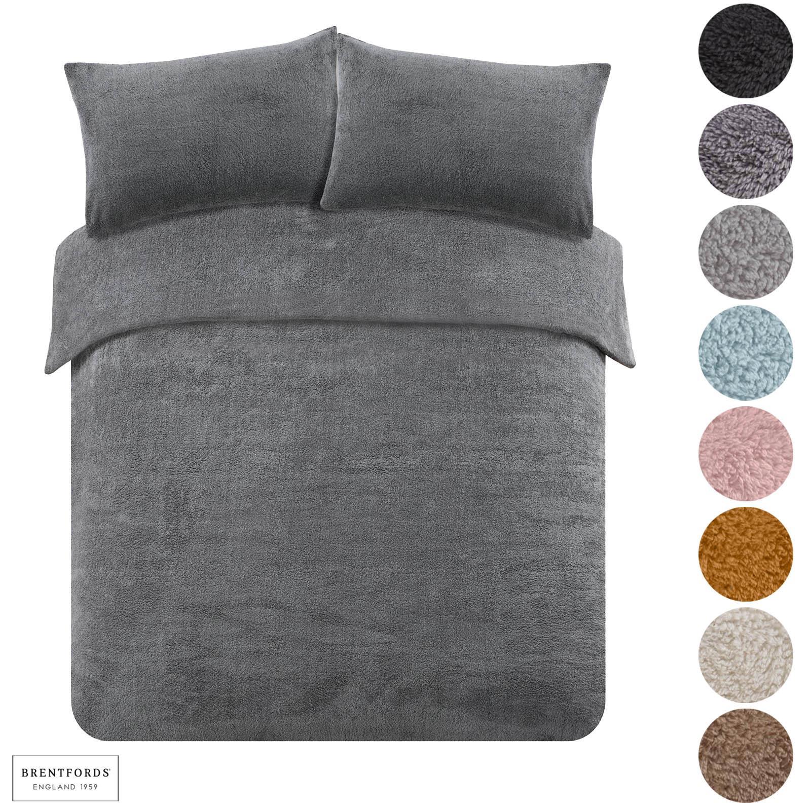 Brentfords Teddy Fleece Duvet Cover With Pillow Case Thermal Warm Bedding Set Ebay