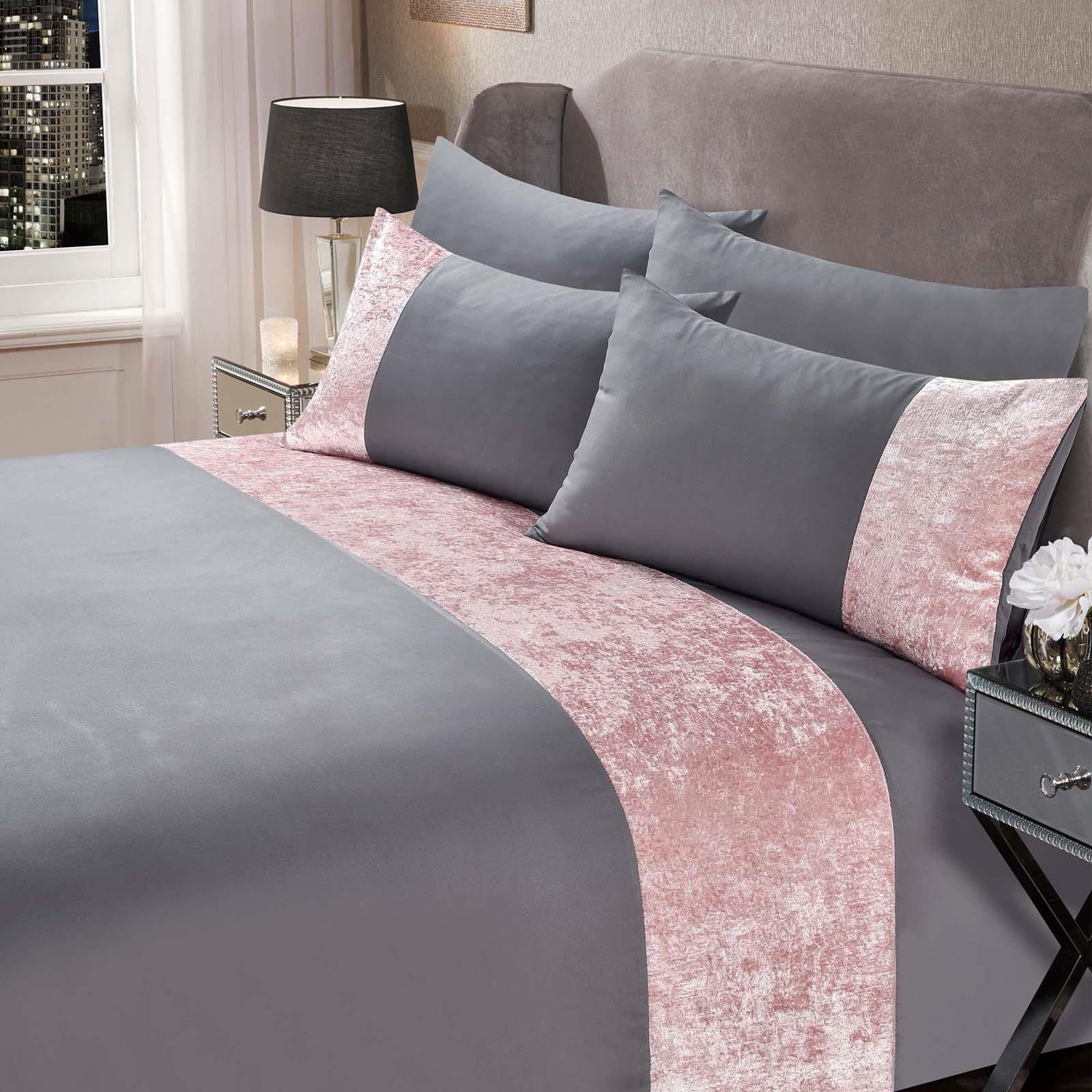 thumbnail 25 - Sienna Crushed Velvet Panel Duvet Cover with Pillow Case Bedding Set Silver Grey