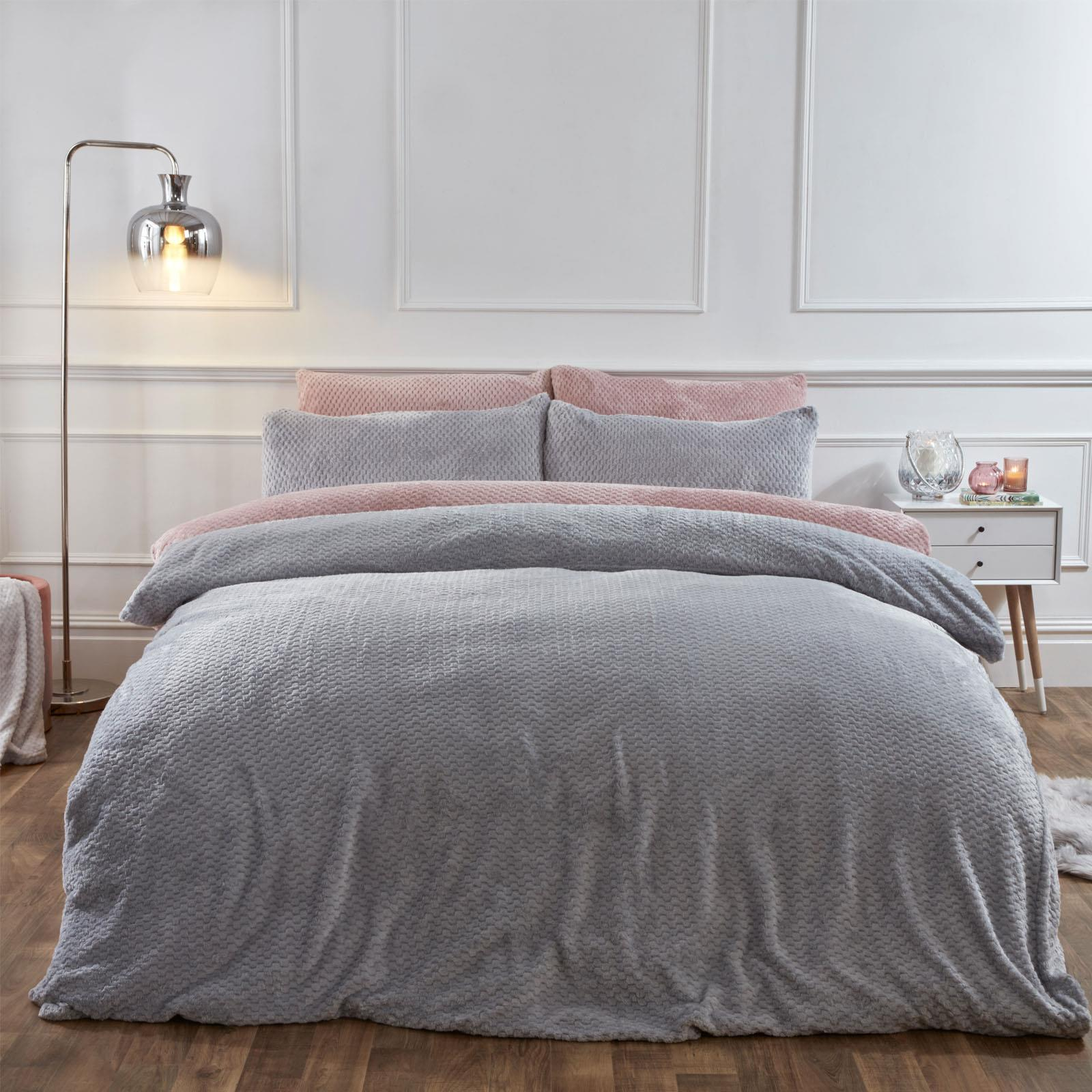 Brentfords-Warm-Waffle-Fleece-Duvet-Cover-with-Pillowcase-Soft-Cosy-Bedding-Set thumbnail 15
