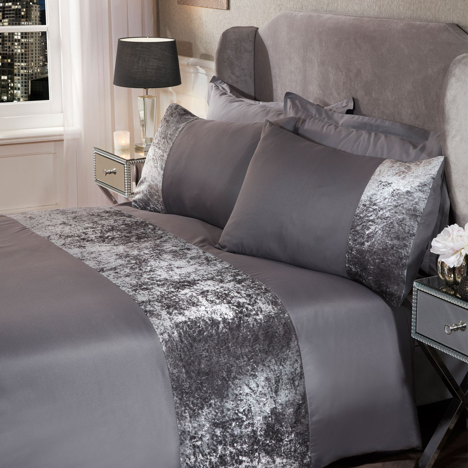 thumbnail 29 - Sienna Crushed Velvet Panel Duvet Cover with Pillow Case Bedding Set Silver Grey