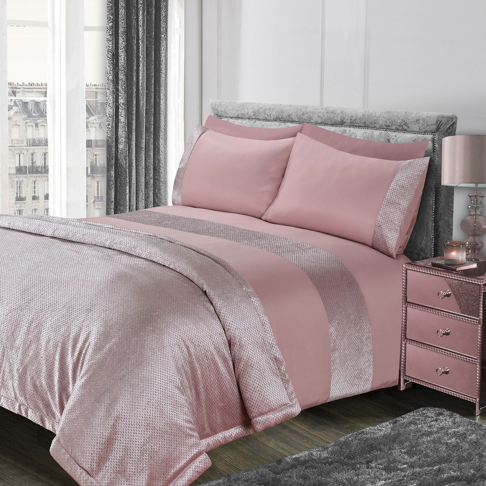 Sienna-Glitter-Duvet-Cover-with-Pillow-Case-Sparkle-Velvet-Bedding-Set-Grey-Pink thumbnail 6