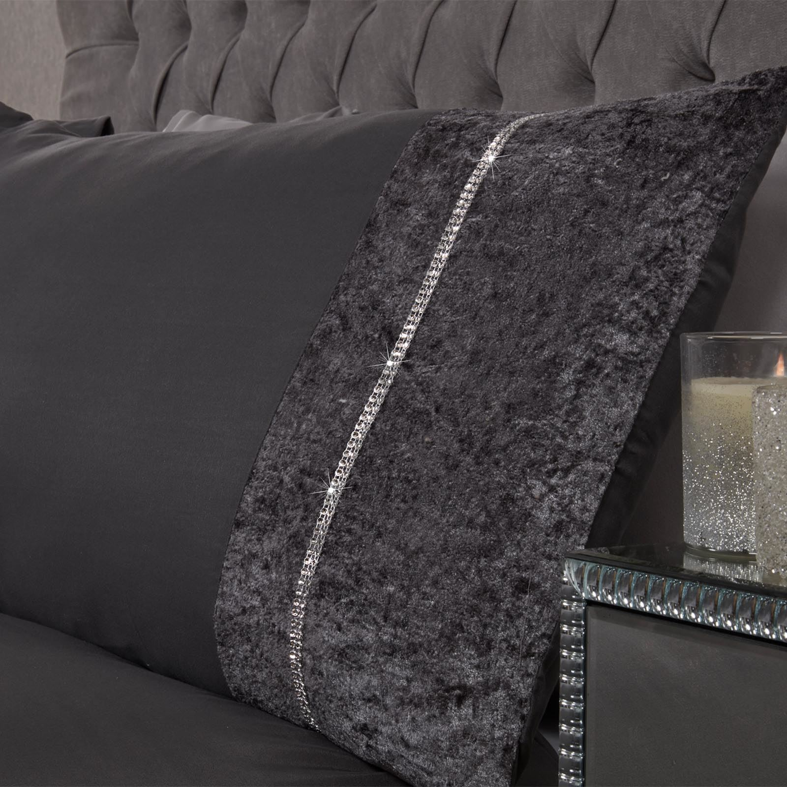 Sienna-Crushed-Velvet-Diamante-Band-Duvet-Cover-with-Pillowcase-Grey-Bedding-Set thumbnail 5