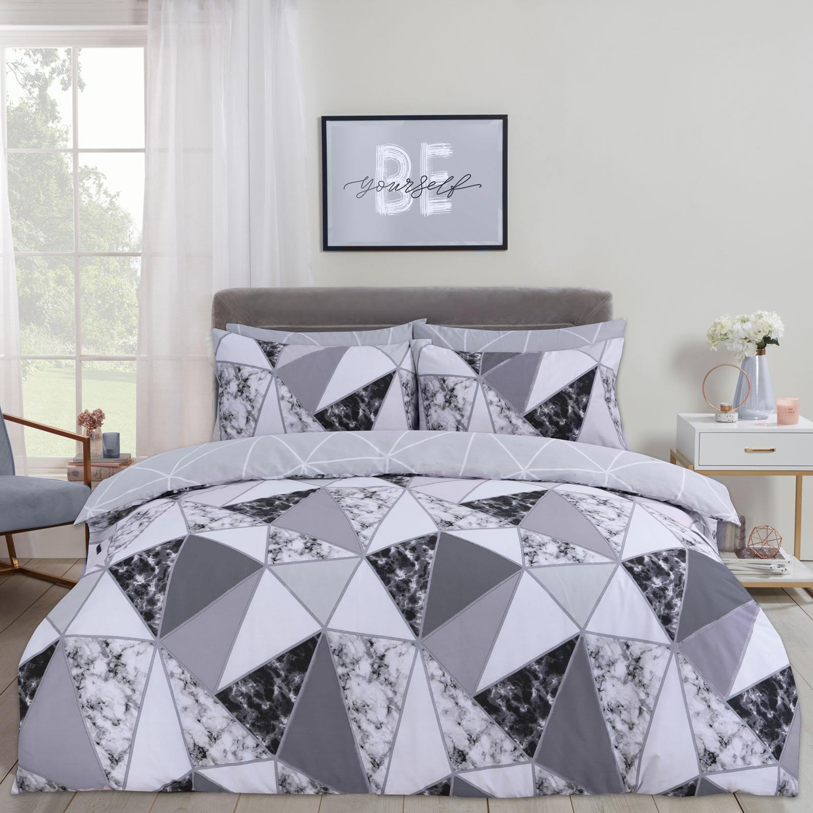 thumbnail 10 - Dreamscene Marble Geometric Duvet Cover with Pillowcase Bedding Set Grey Blush
