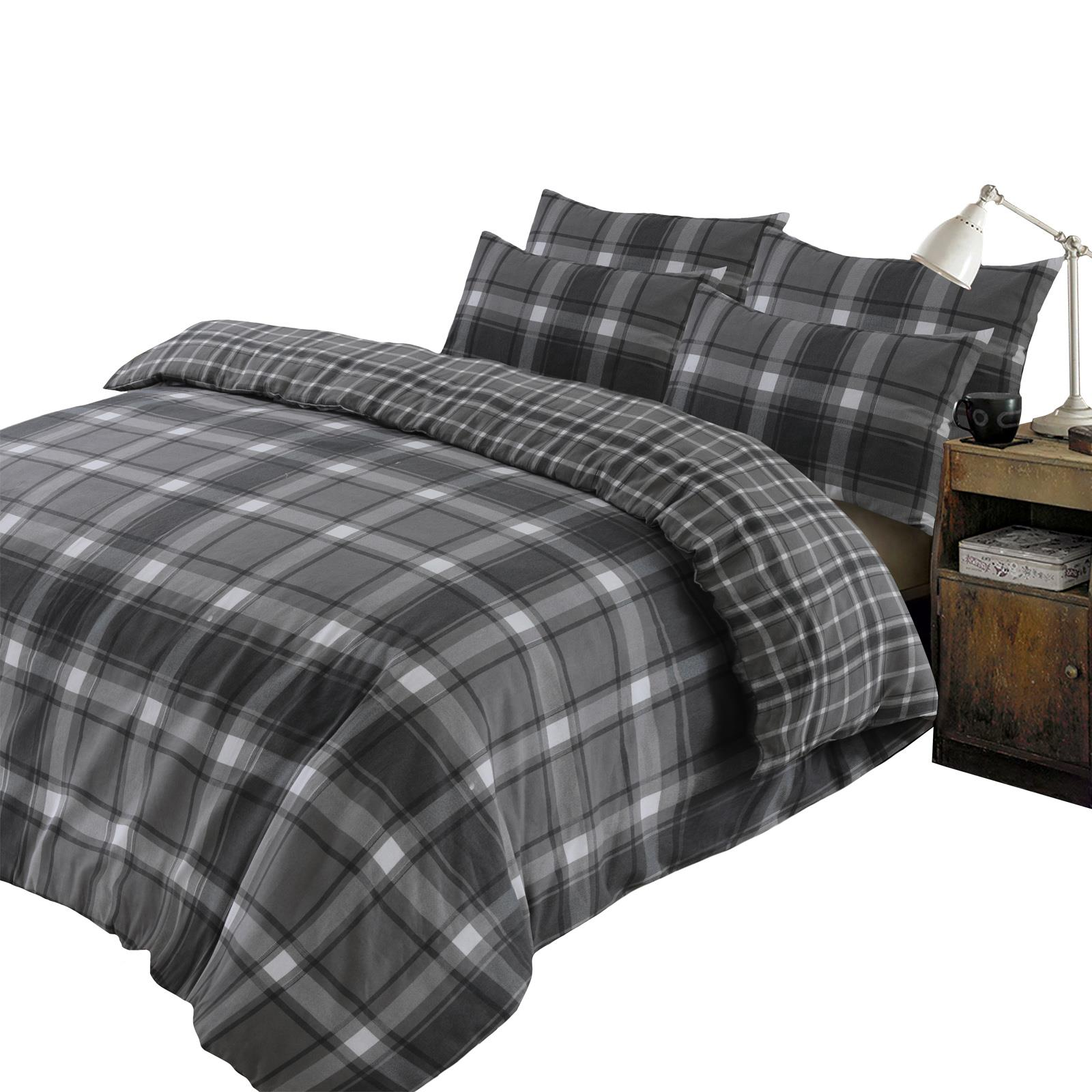 Brushed-Cotton-Tartan-Duvet-Cover-with-Pillowcase-Set-Aspen-Check-Flannelette thumbnail 4