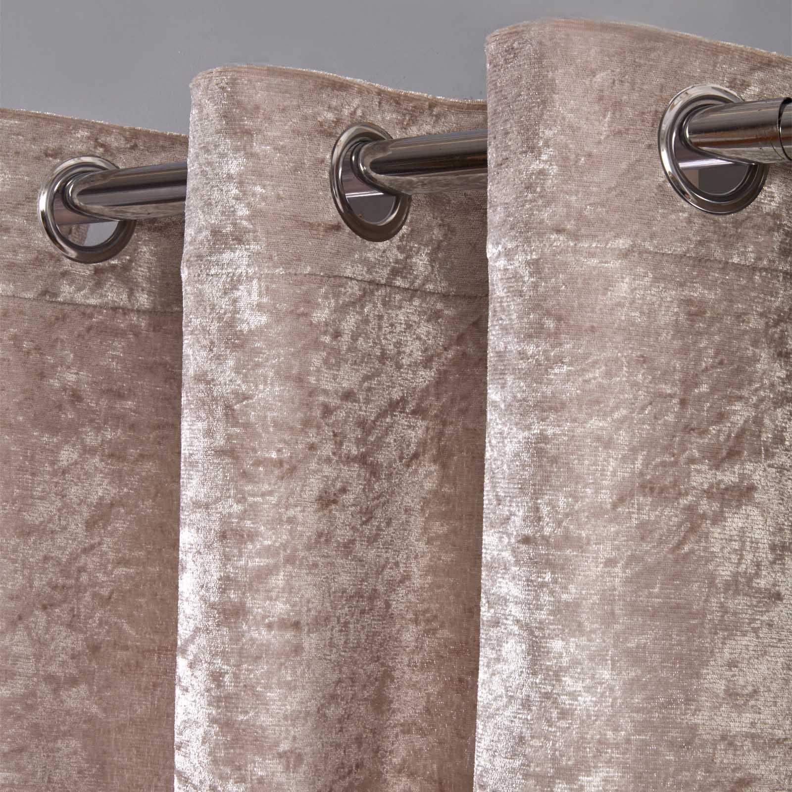 Sienna-Crushed-Velvet-Voile-PAIR-of-Net-Eyelet-Ring-Top-Curtains-Blush-Silver thumbnail 14