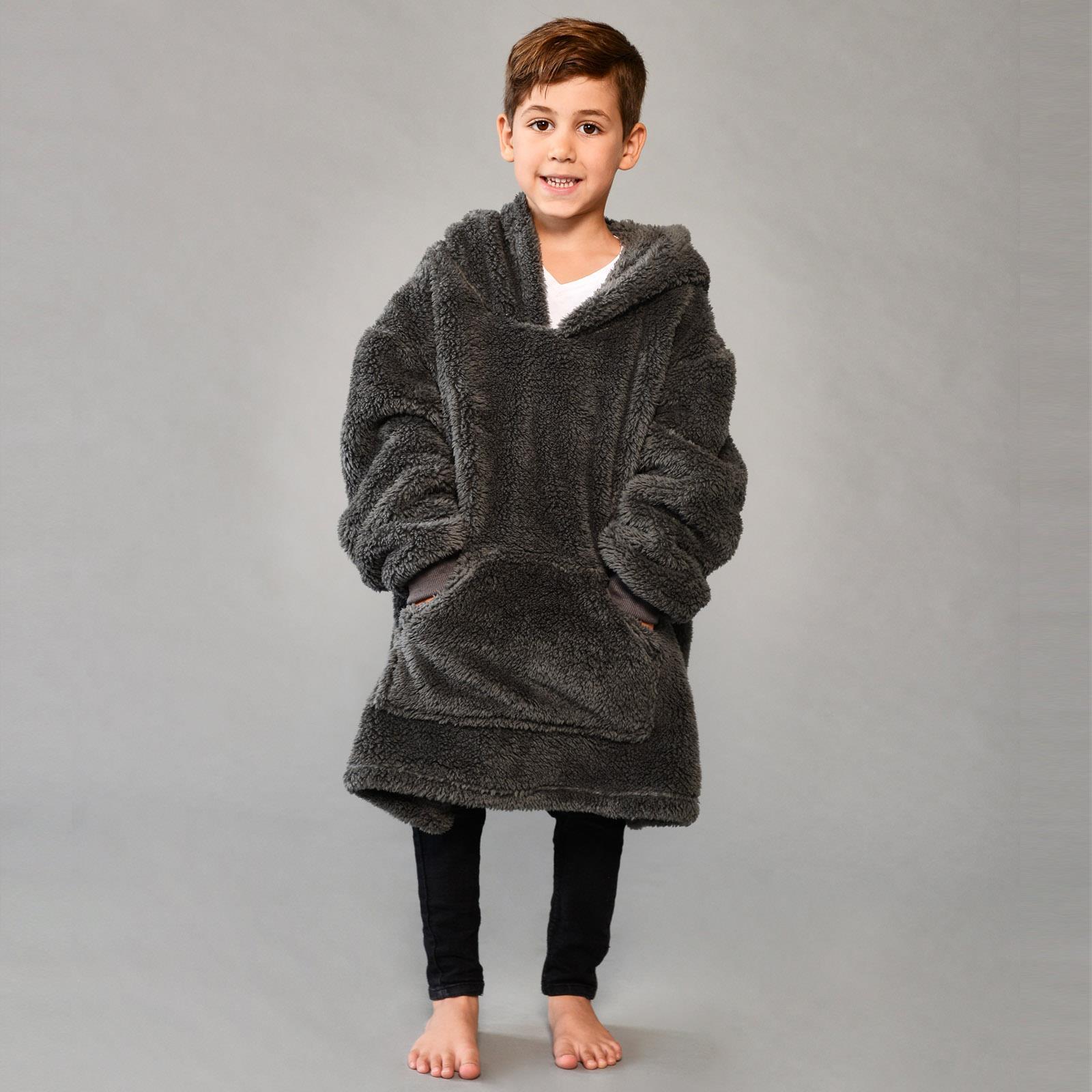 thumbnail 17 - Brentfords-Teddy-Fleece-Hoodie-Blanket-Oversized-Giant-Wearable-Adults-Kids-UK