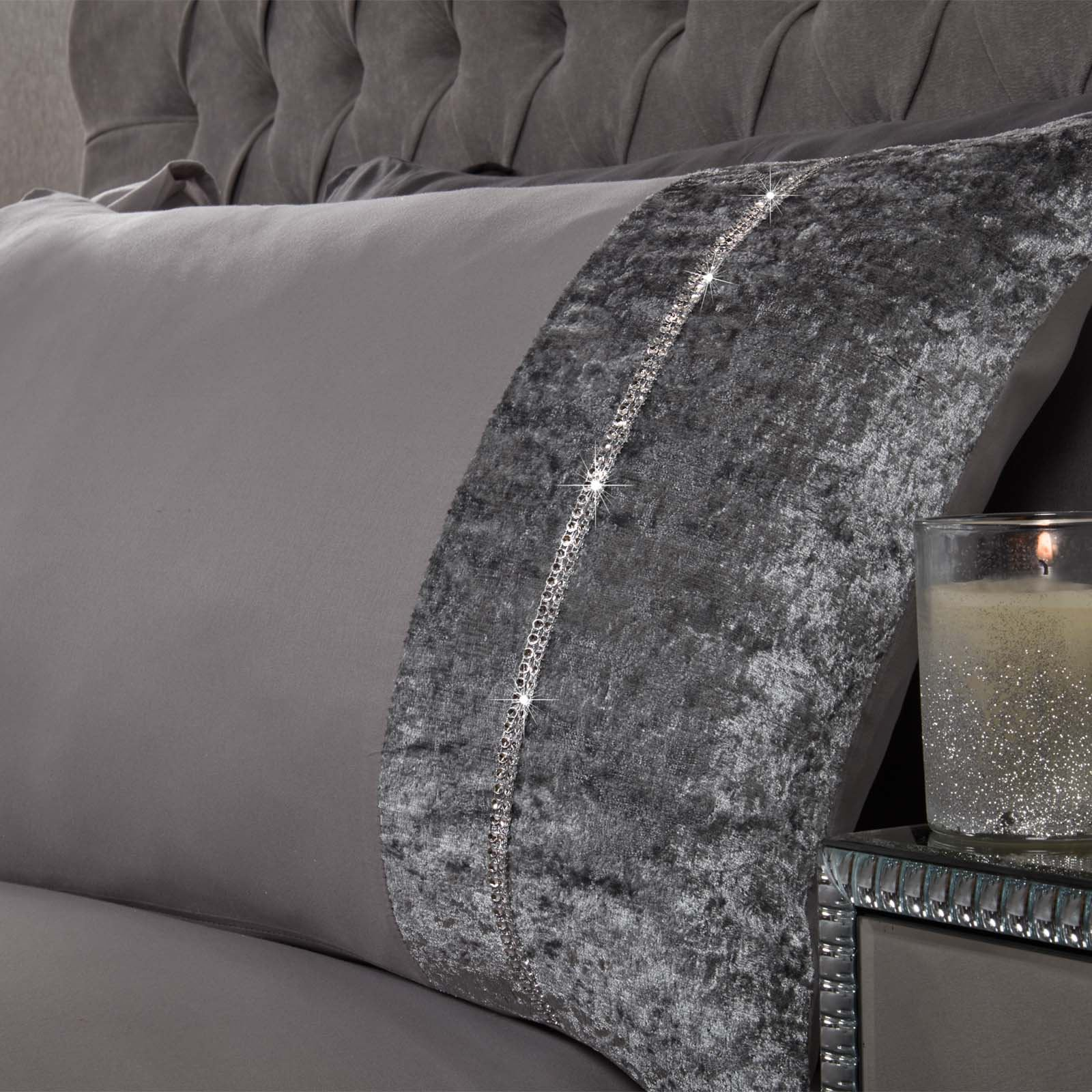 Sienna-Crushed-Velvet-Diamante-Band-Duvet-Cover-with-Pillowcase-Grey-Bedding-Set thumbnail 9