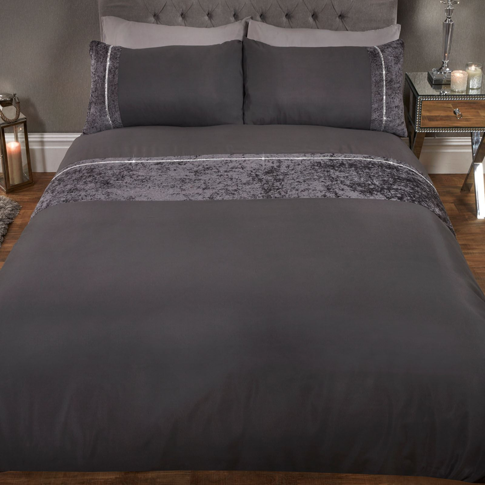 Sienna-Crushed-Velvet-Diamante-Band-Duvet-Cover-with-Pillowcase-Grey-Bedding-Set thumbnail 6