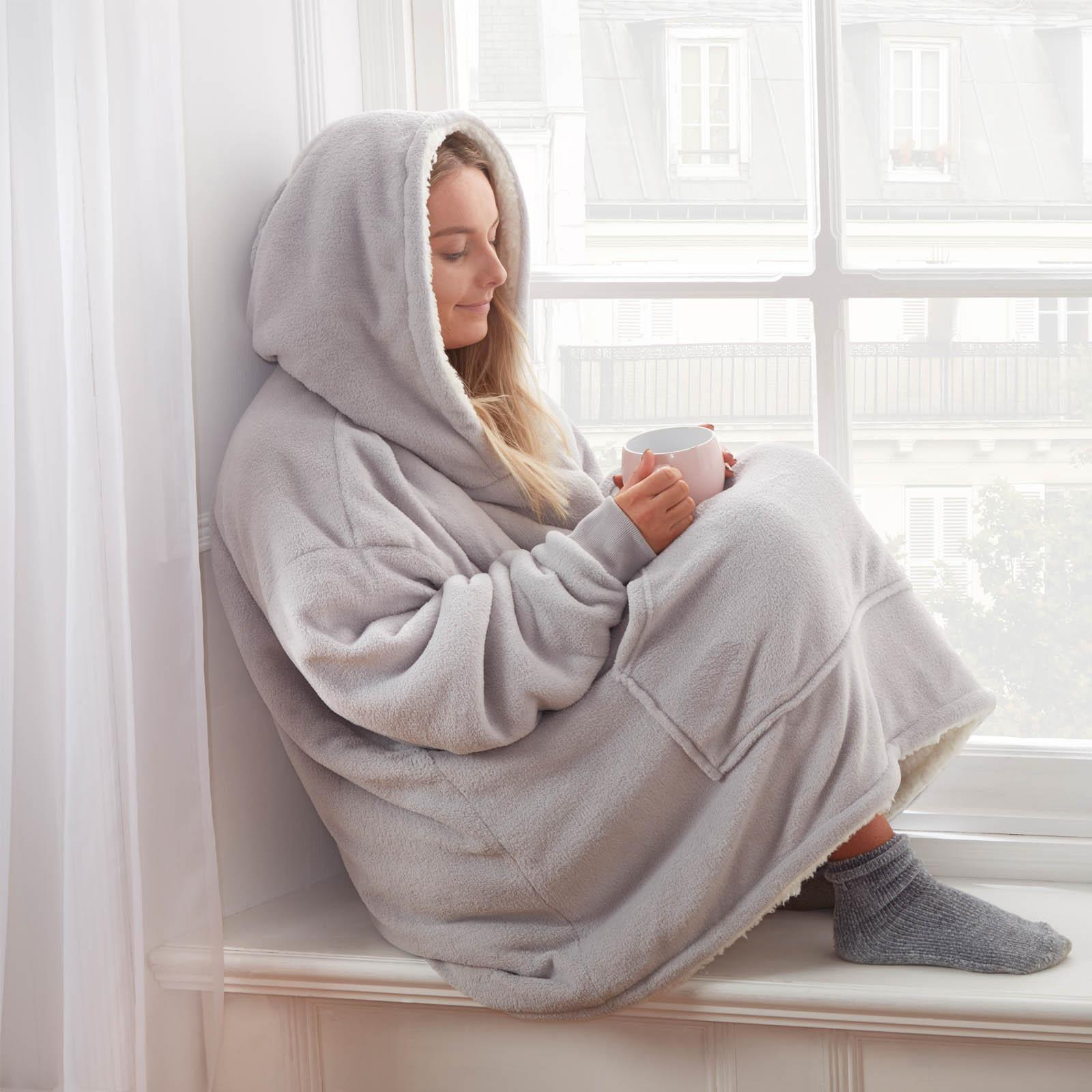 Sienna-Hoodie-Blanket-Oversized-Ultra-Plush-Sherpa-Giant-Big-Hooded-Sweatshirt thumbnail 21
