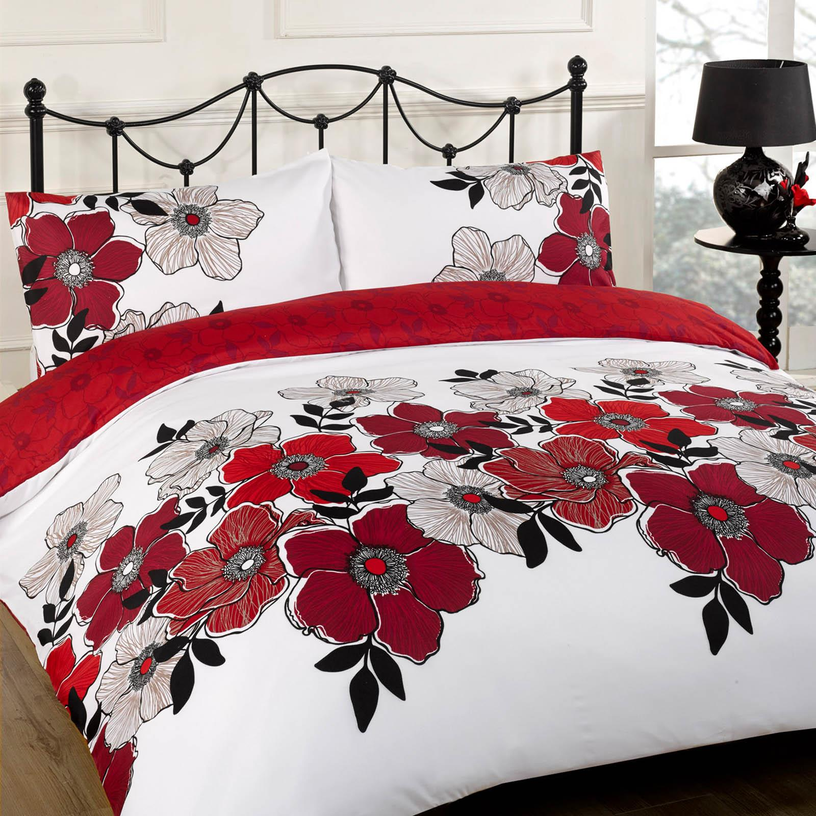 Duvet Cover With Pillow Case Bed Set Pollyanna Red Black Grey Single Double King Ebay