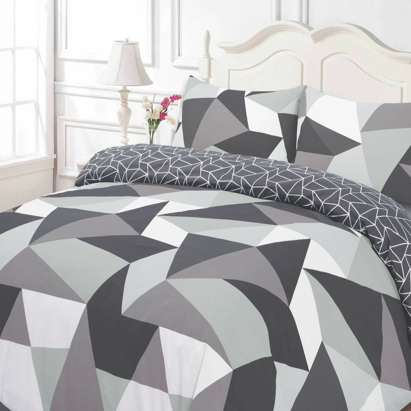 Dreamscene Geometric Shapes Duvet Cover With Pillowcase Bedding Set Black Grey Ebay
