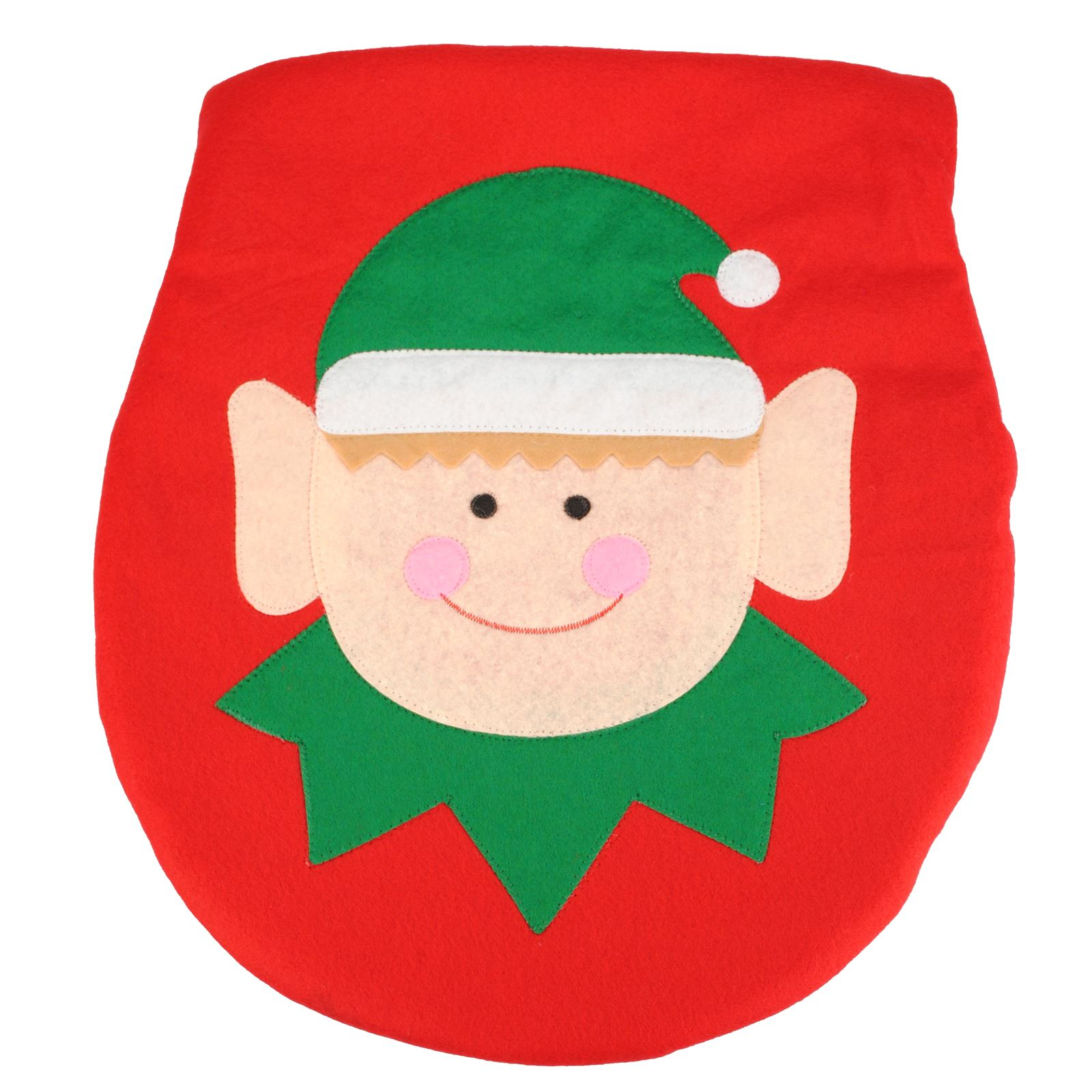 Christmas Decoration Elf Santa Toilet Seat Cover Bathroom