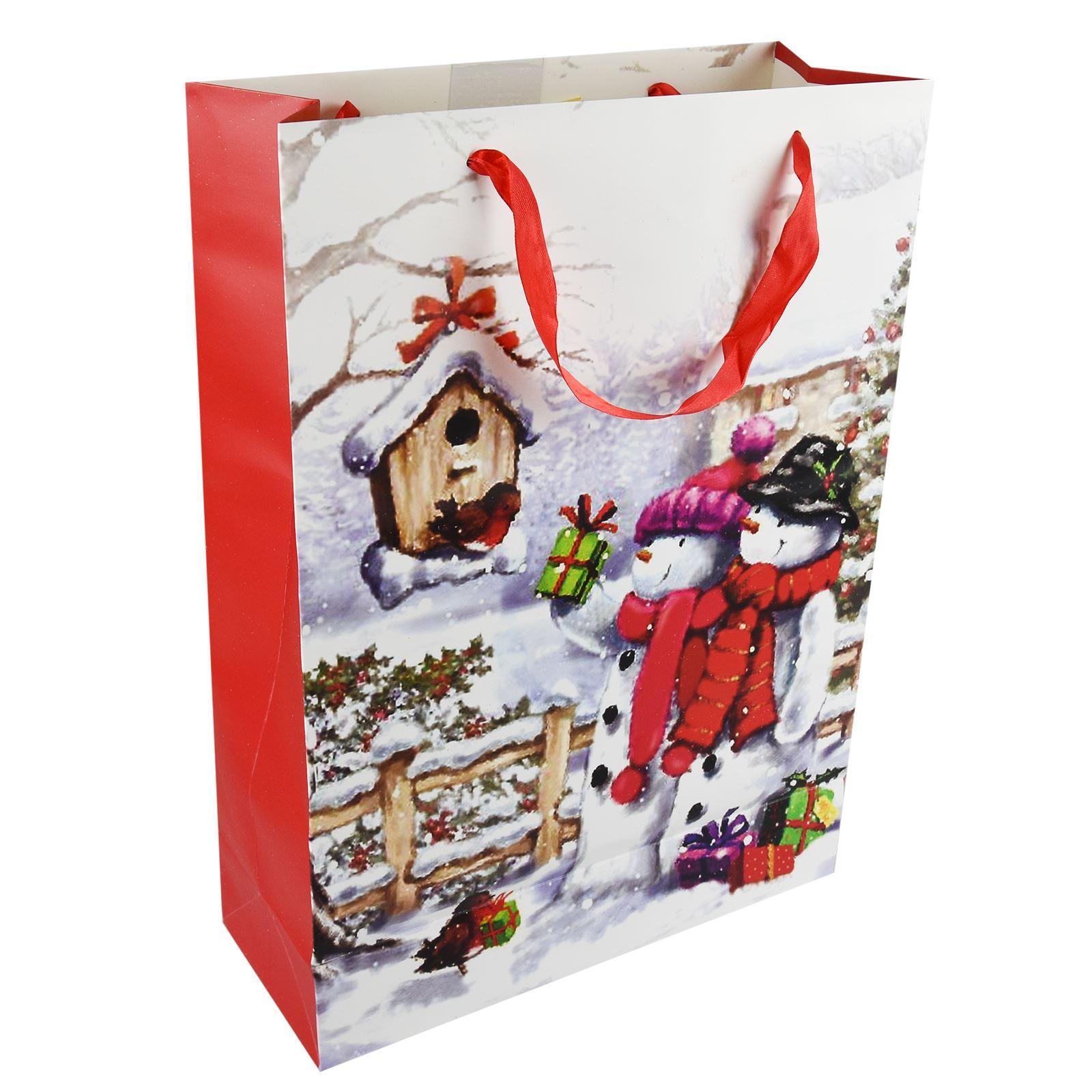 Tradizionale-Regalo-di-Natale-Borse-Regalo-Natale-Inverno-Glitter-Design-Paper-Carrier miniatura 13