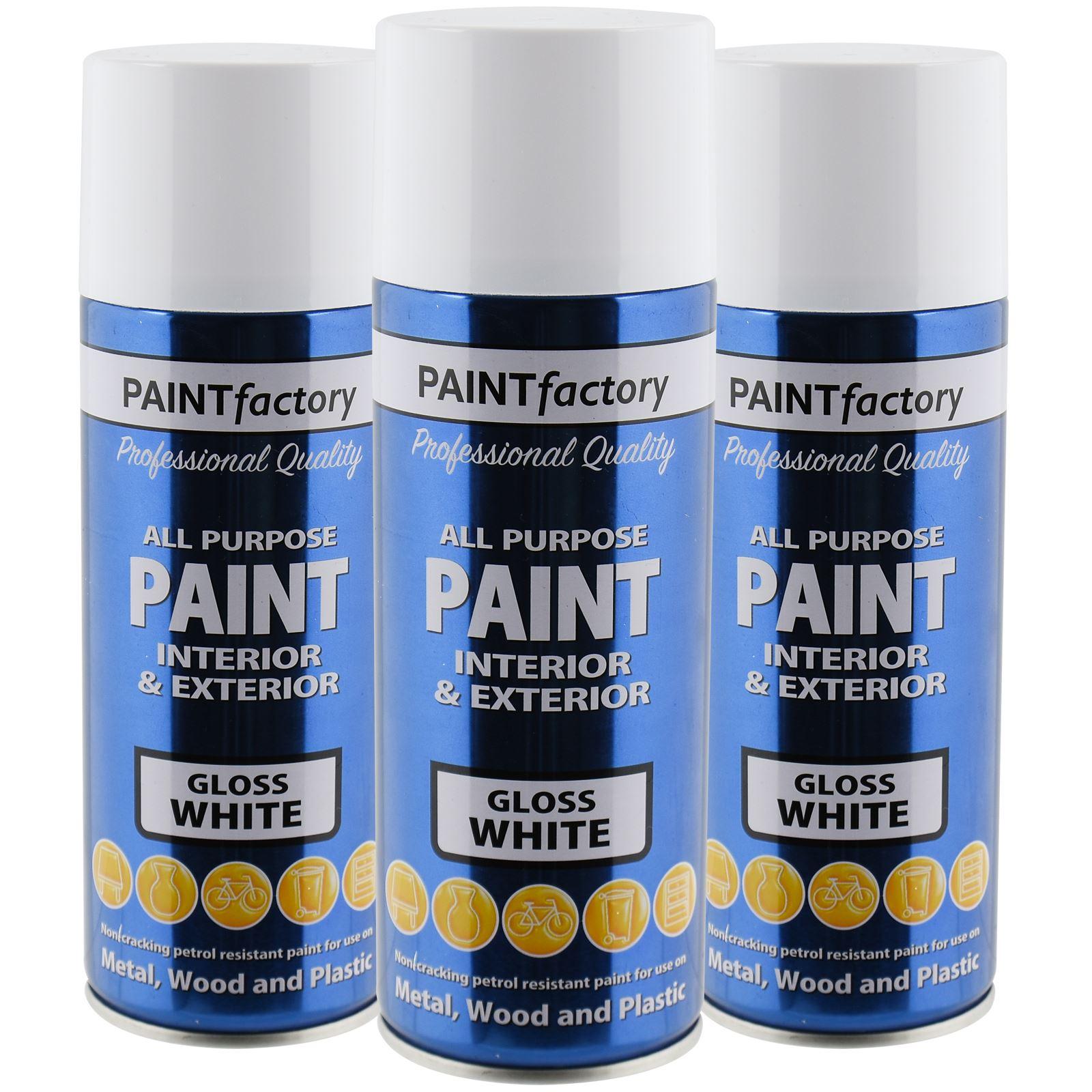 All Purpose White Gloss Spray Paint 400ml Aerosol Dry Metal Interior Exterior Ebay
