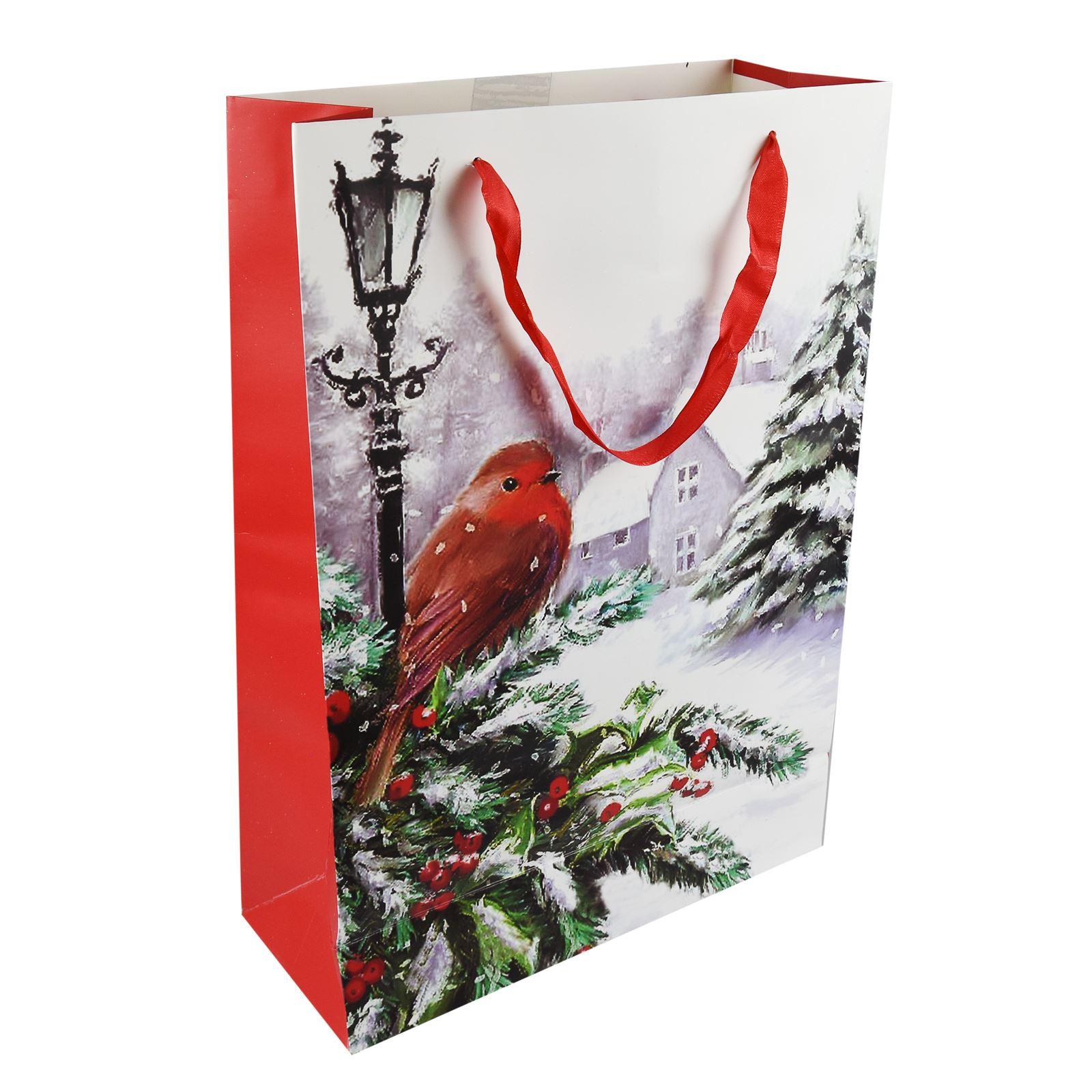 Tradizionale-Regalo-di-Natale-Borse-Regalo-Natale-Inverno-Glitter-Design-Paper-Carrier miniatura 9