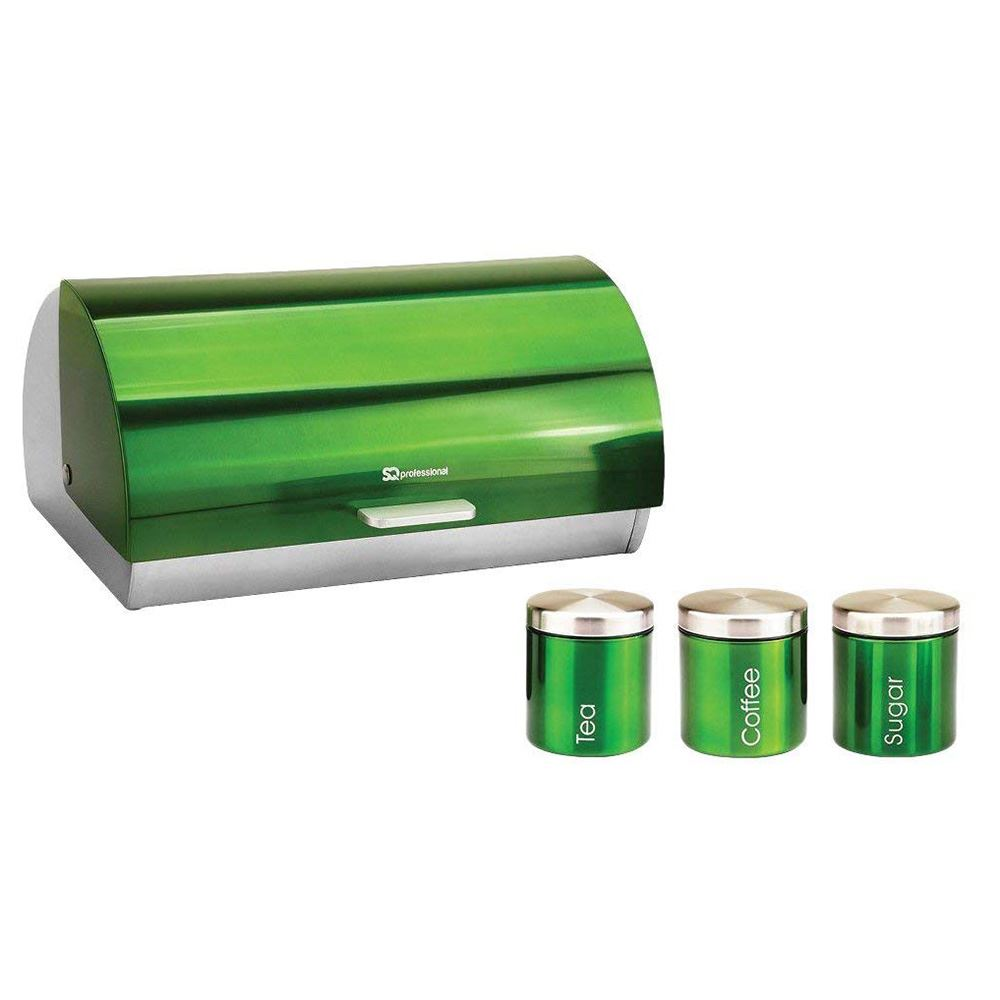 Metallique-Huche-a-Pain-Ouverture-Coulissante-The-Cafe-Sucre-Jar-Canister-ensembles-de-rangement miniature 6