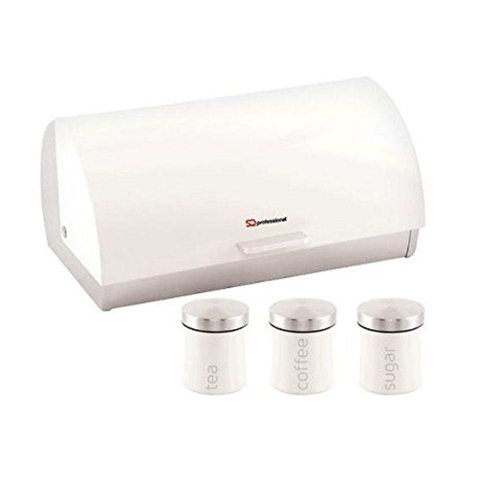 Metallic-Roll-Top-Bread-Bin-Tea-Coffee-Sugar-Jar-Canister-Sets-Kitchen-Storage thumbnail 31