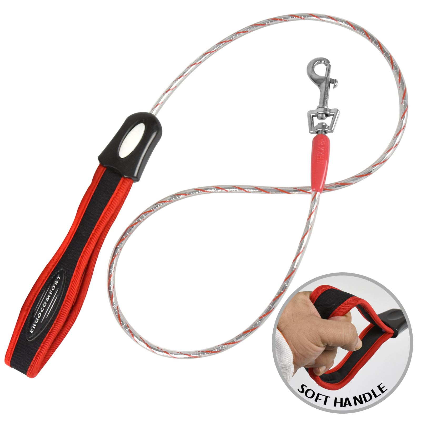 Small Dog Leash Lead Soft Padded Handle Long Flexi Walking Rope Metal Clip Clasp