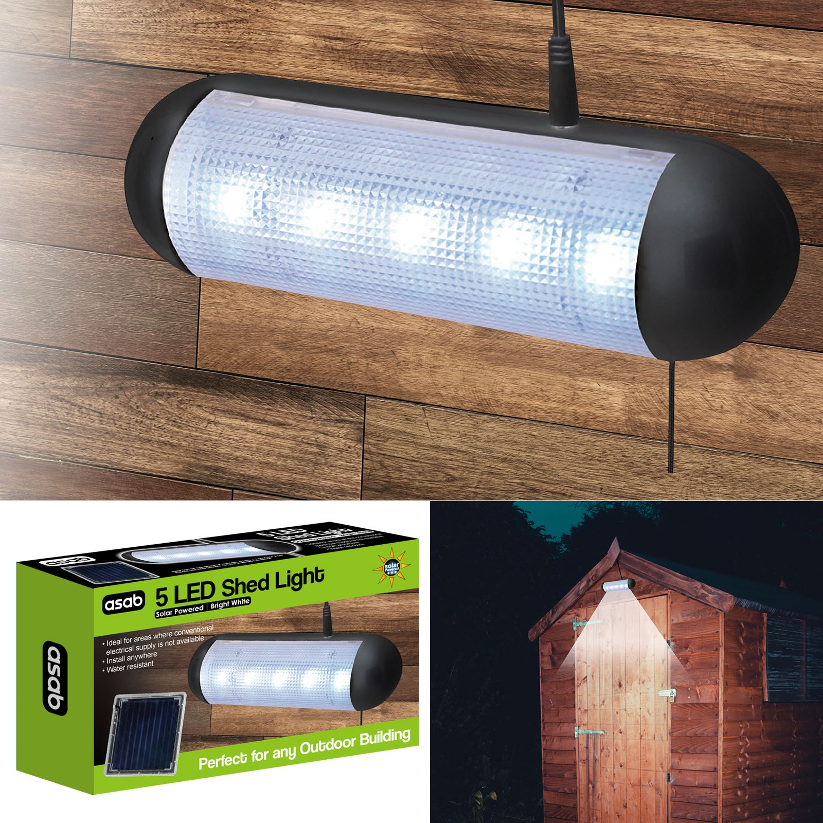 Solar powered 5 bright white led shed light rechargeable outdoor solar powered 5 bright white led shed light aloadofball Image collections