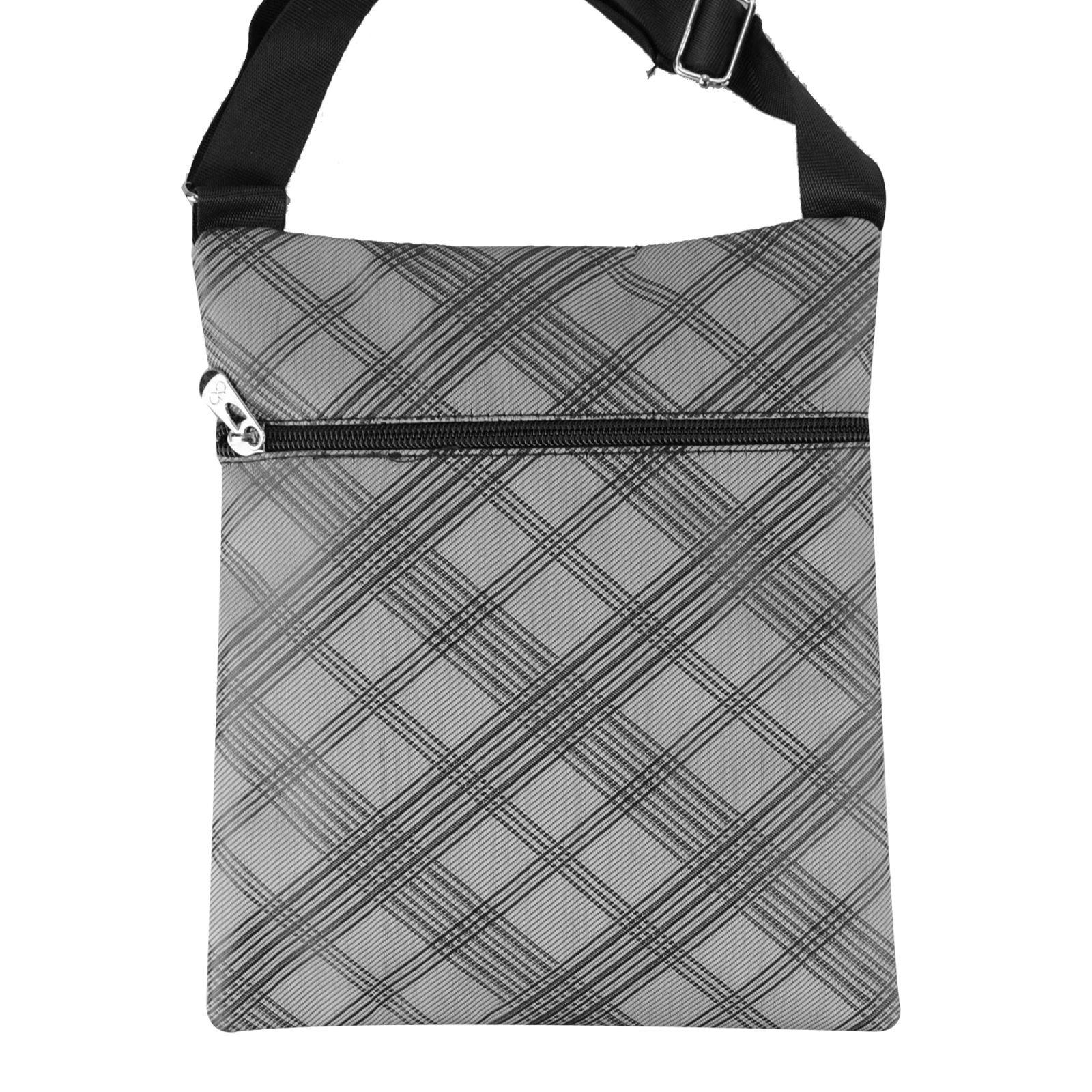 Mens Small Check Pattern Organiser Shoulder Bag Adjustable Strap Zip Up Pockets