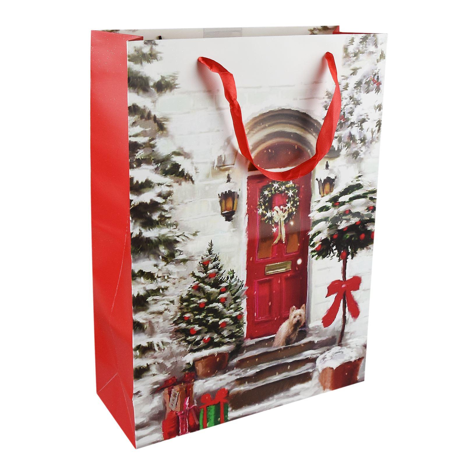 Tradizionale-Regalo-di-Natale-Borse-Regalo-Natale-Inverno-Glitter-Design-Paper-Carrier miniatura 18