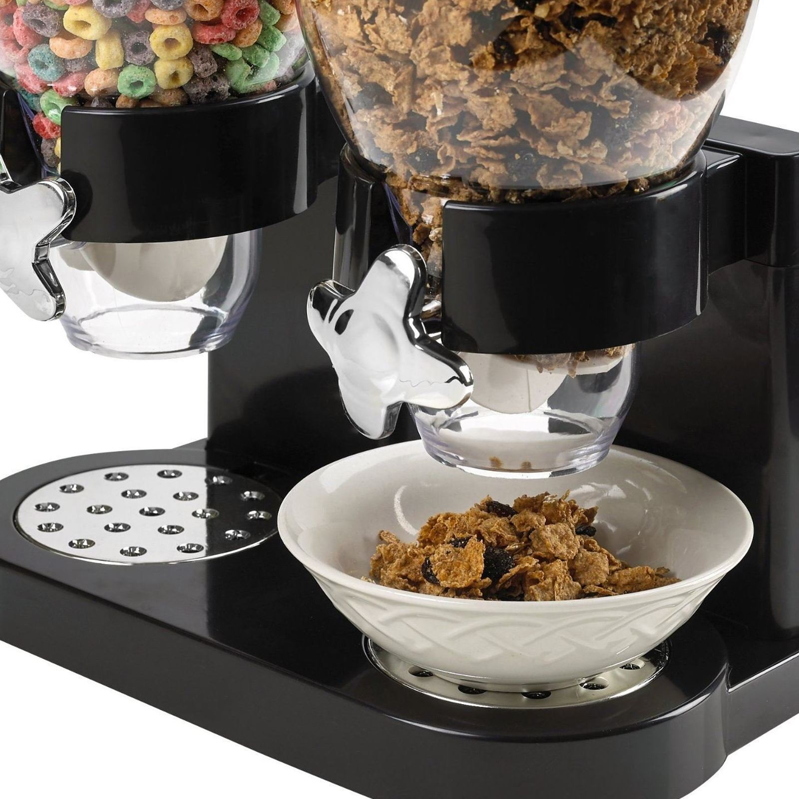 Double breakfast cereal dispenser dry food storage container double breakfast cereal dispenser dry food storage container ccuart Image collections