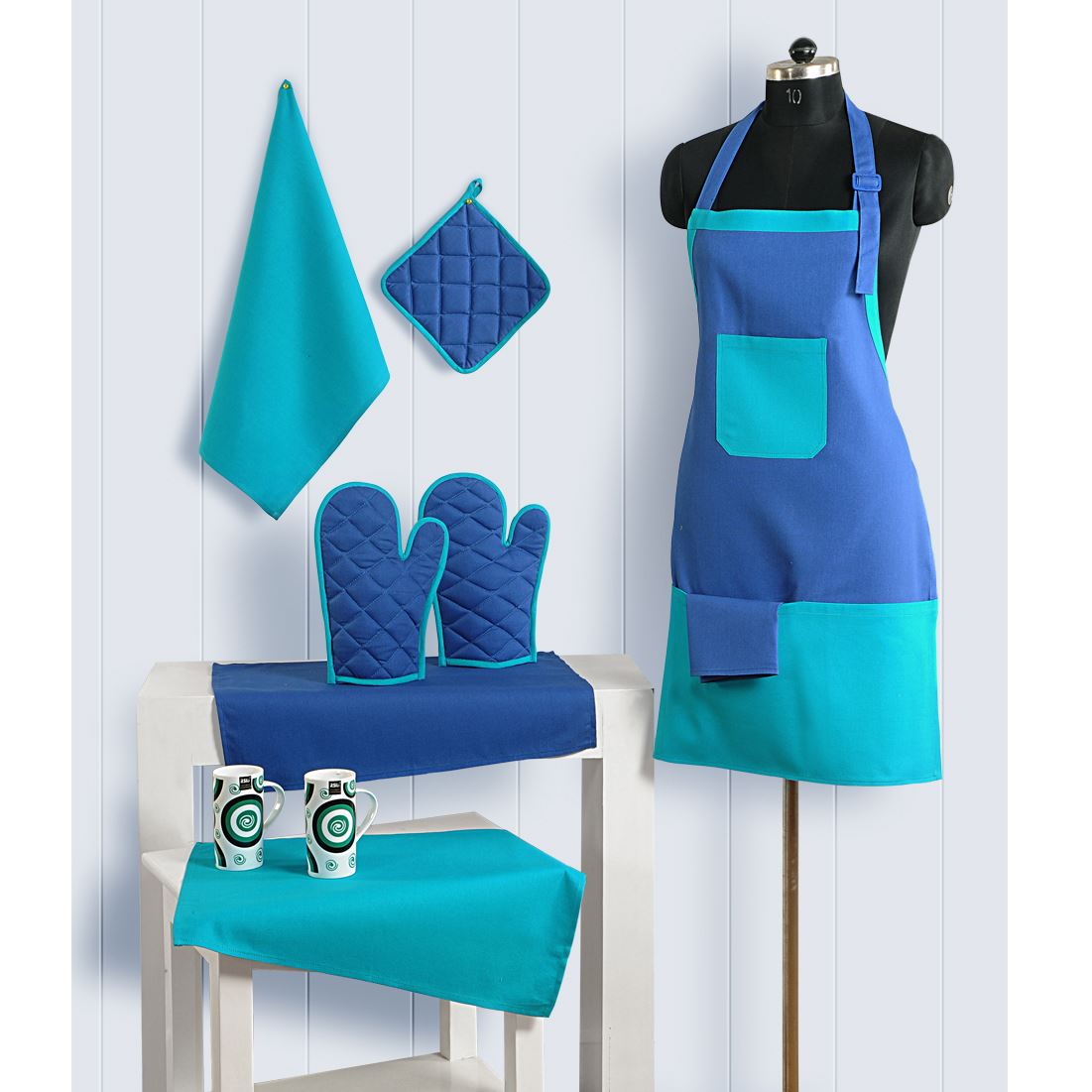 8pc kitchen linen set apron oven gloves hot plate holder for Apron designs and kitchen apron styles