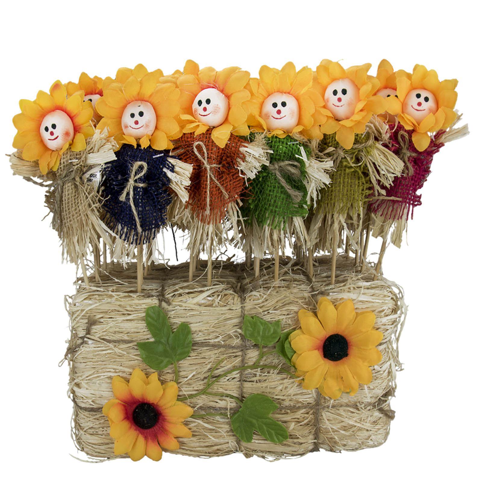 Face Plant Pot Part - 44: Sunflower-Face-Plant-Pot-Scarecrow-Stick-Straw-Wooden-