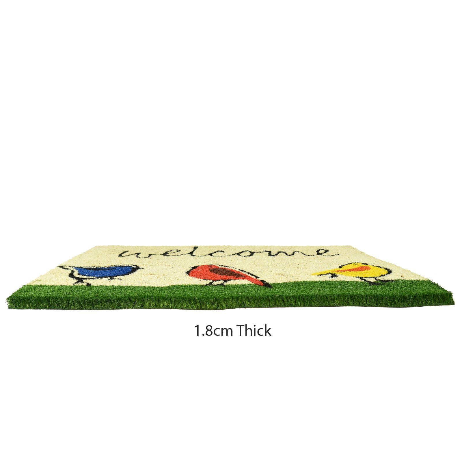 Plain-Non-Slip-Door-Mat-Tough-Natural-Coir-PVC-Back-Welcome-Doormat-40-x-60cm miniatura 12