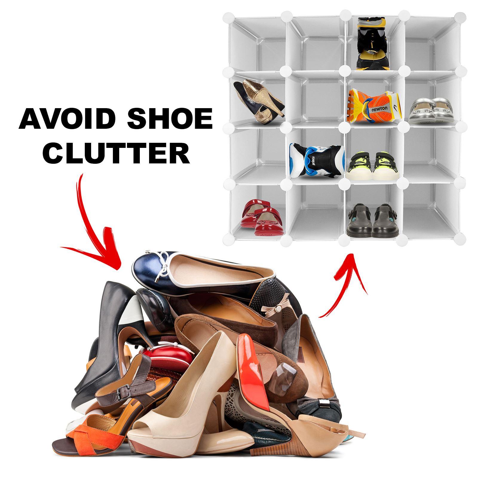 16 Pair Interlocking Shoe Organiser Storage Shelf Cube