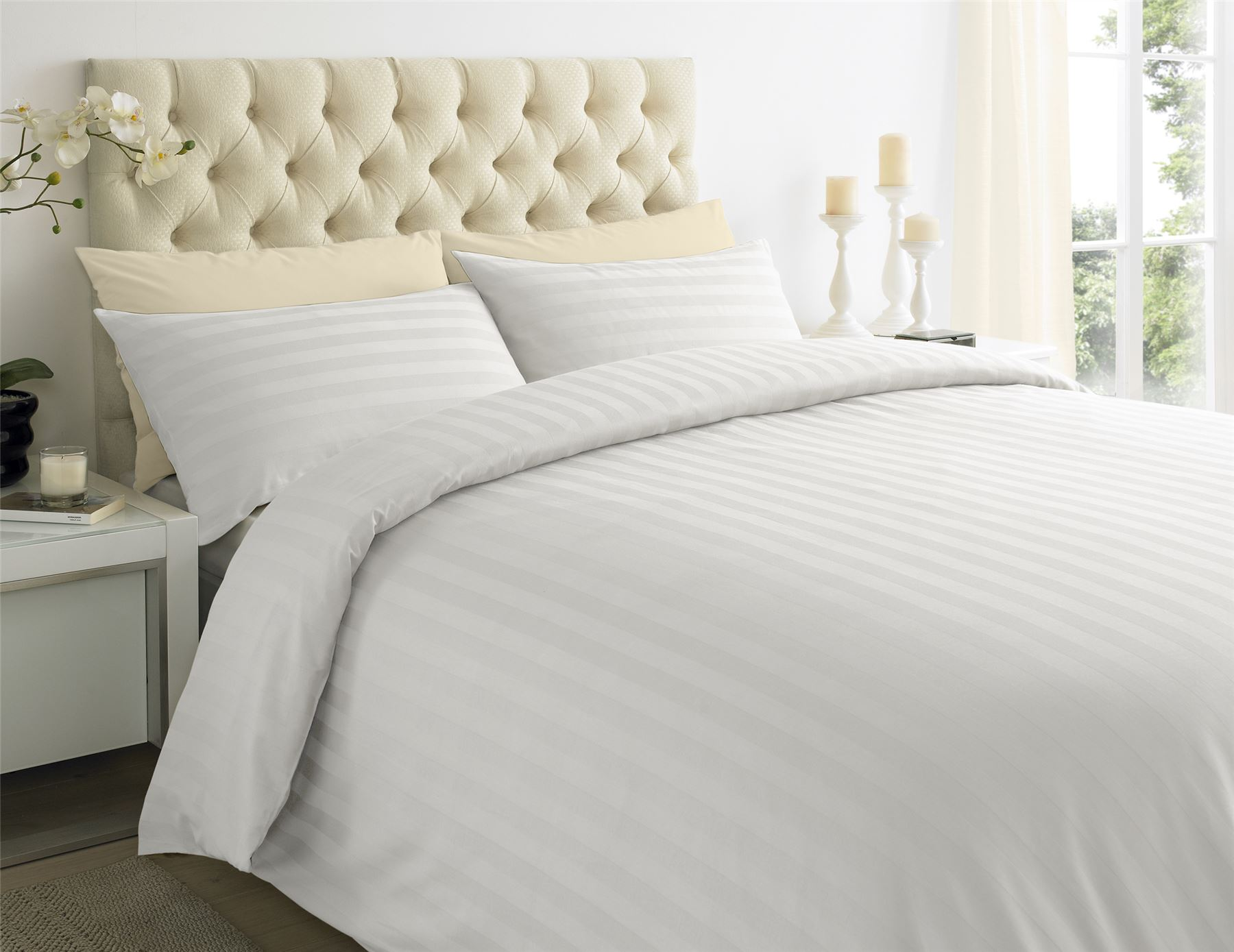 250tc Egyptian Cotton Sateen Stripe Duvet Quilt Cover Double U0026 King Bedding  Set White Double. About This Product. Picture 1 Of 2; Picture 2 Of 2
