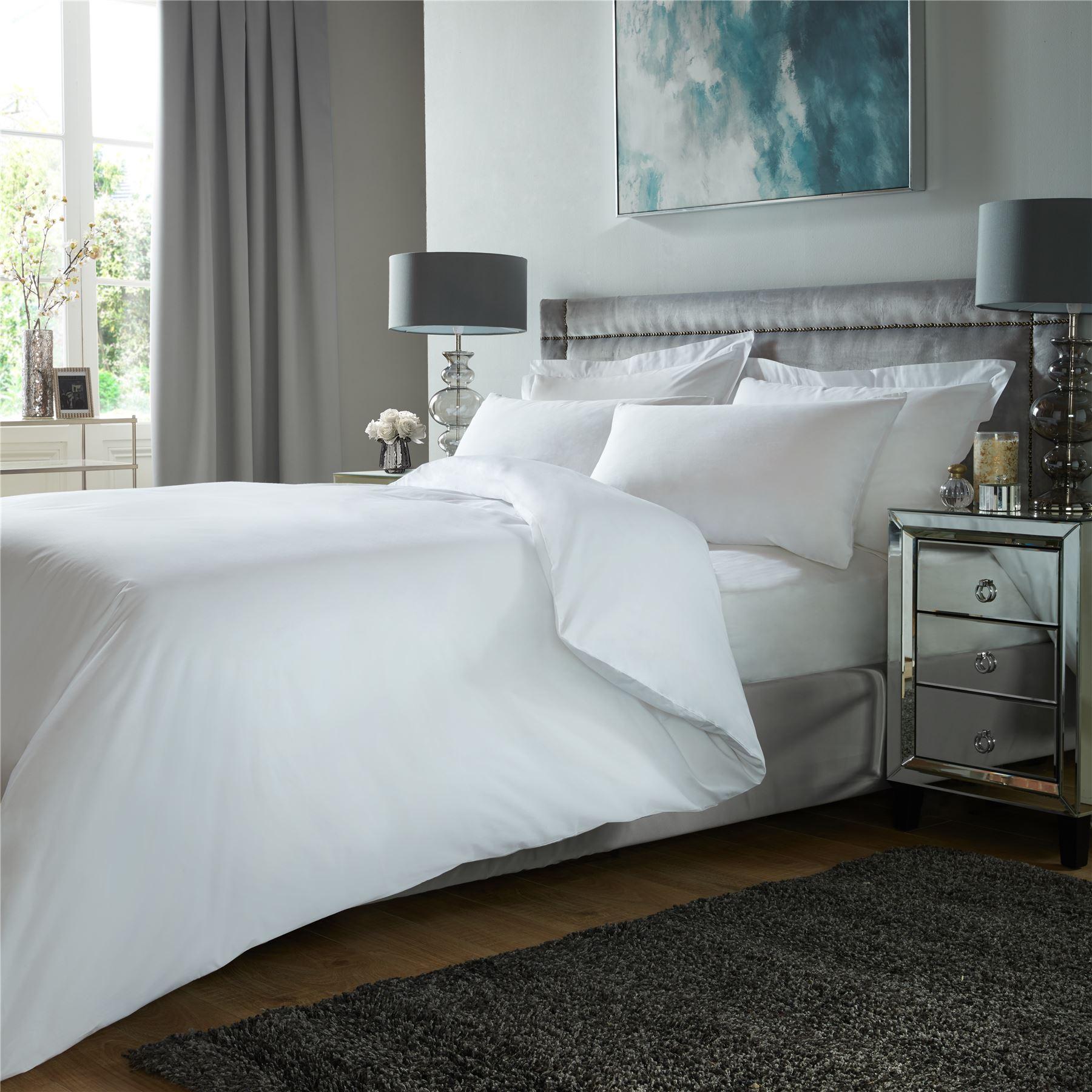 De-Lujo-400TC-conjunto-de-funda-de-edredon-100-Algodon-Egipcio-ropa-de-cama-funda-de-almohada-tenida miniatura 21