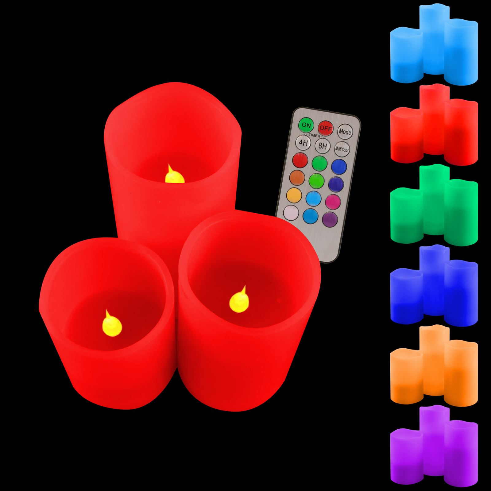 candles battery flameless led rgb flickering tea lights remote. Black Bedroom Furniture Sets. Home Design Ideas