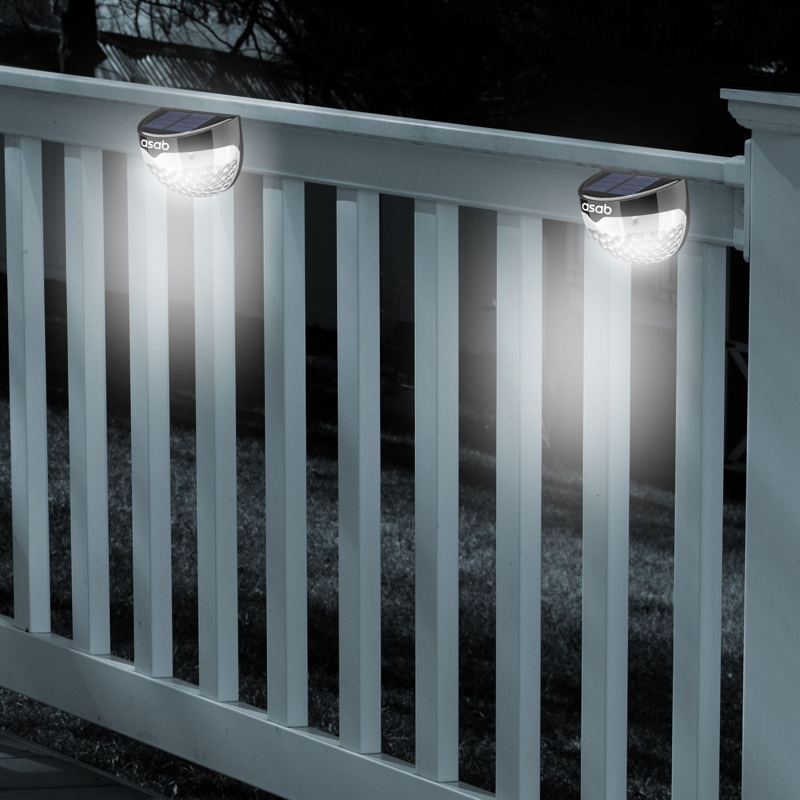 Patio Lights On Fence: Solar Powered Fence Light LED Dual Path Gutter Lamp Wall