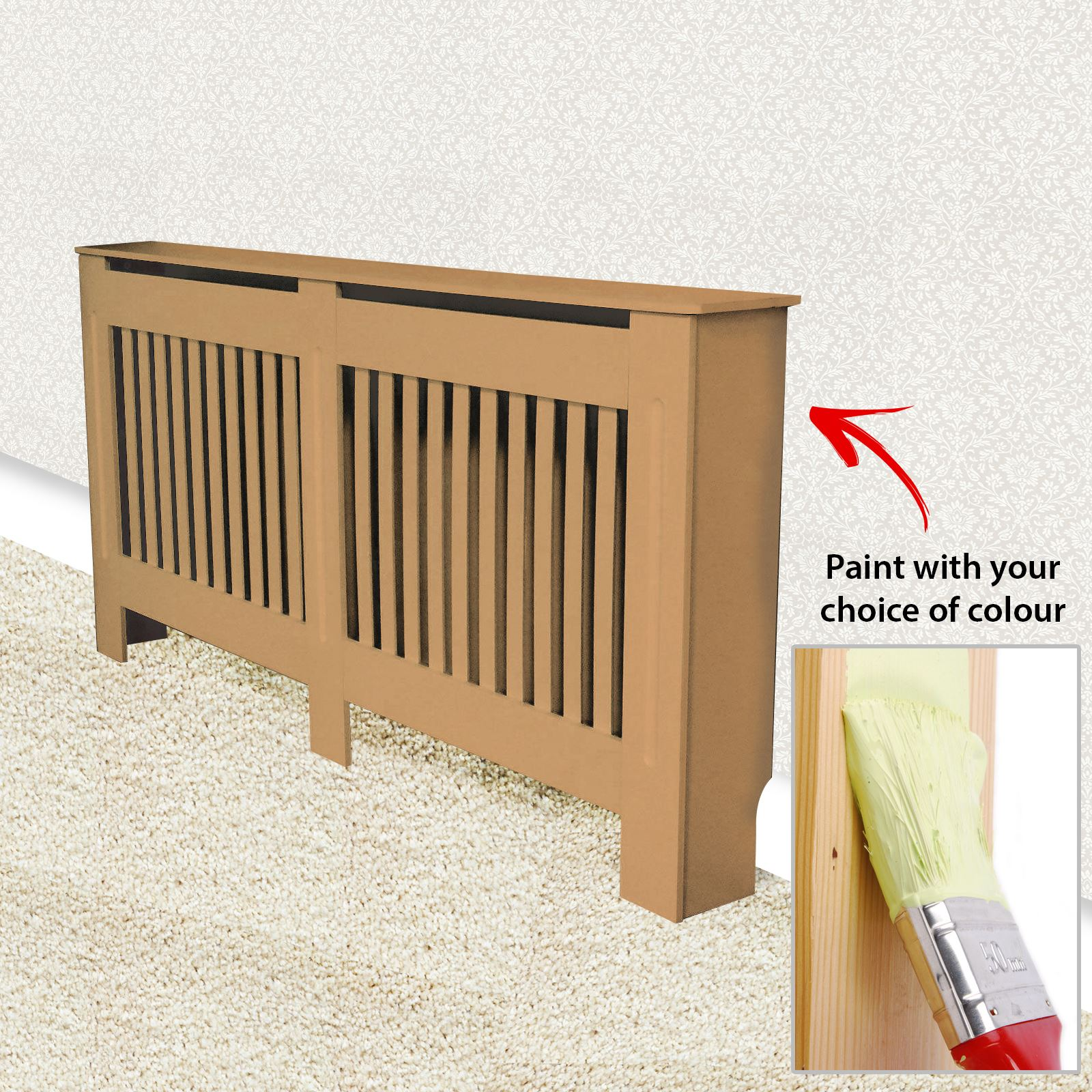 Traditional-Radiator-Cover-Cabinet-Vertical-Slatted-MDF-Wood-Small-Large-Unit thumbnail 11