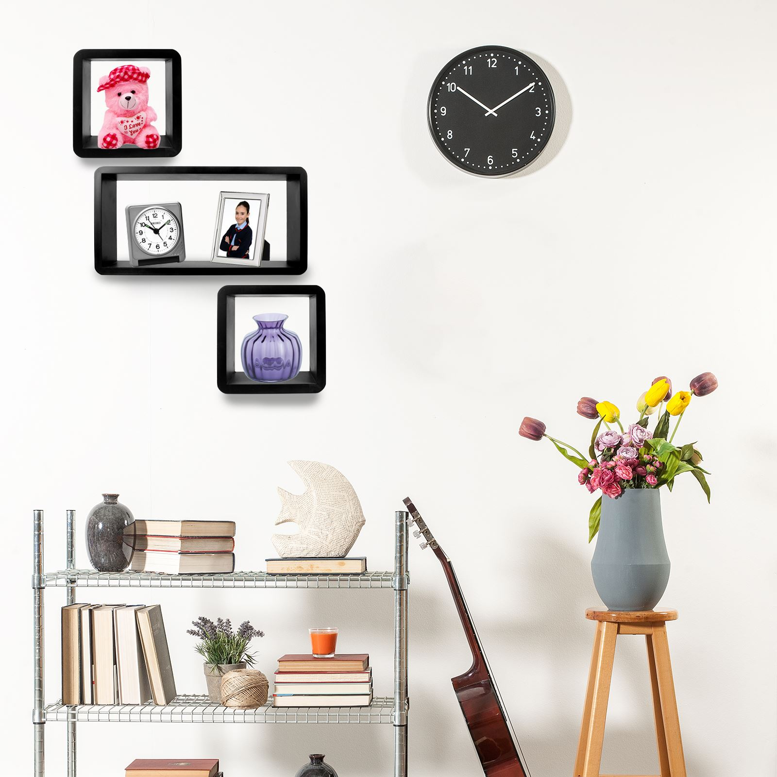 3pc-Set-Rectangle-Floating-Shelves-Wall-Mount-Storage-Book-Shelf-DVD-CD-Stand thumbnail 5