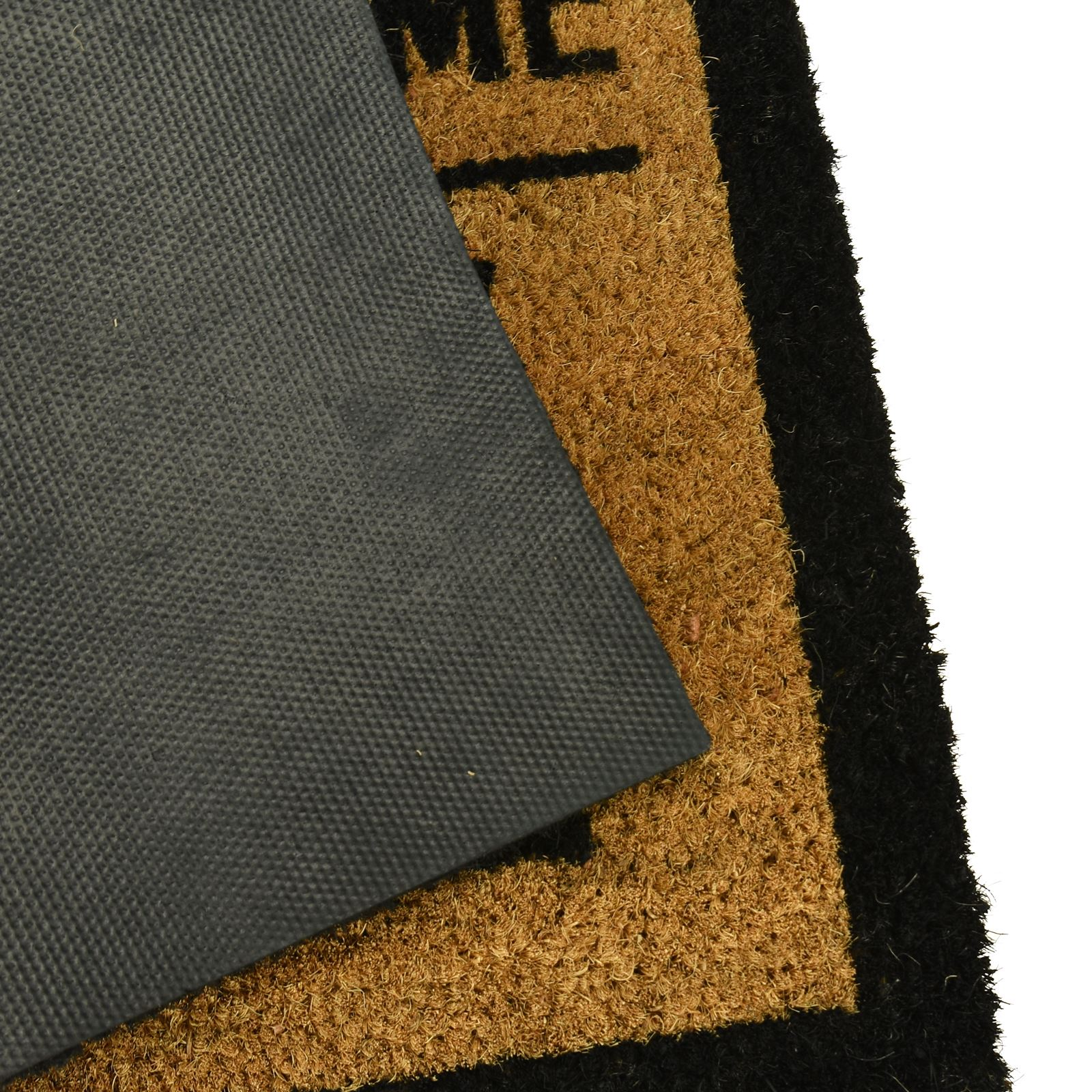 Plain-Non-Slip-Door-Mat-Tough-Natural-Coir-PVC-Back-Welcome-Doormat-40-x-60cm miniatura 37