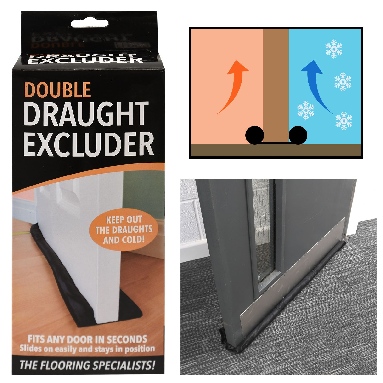 Black Twin Draught Excluder Double Sided Under Door