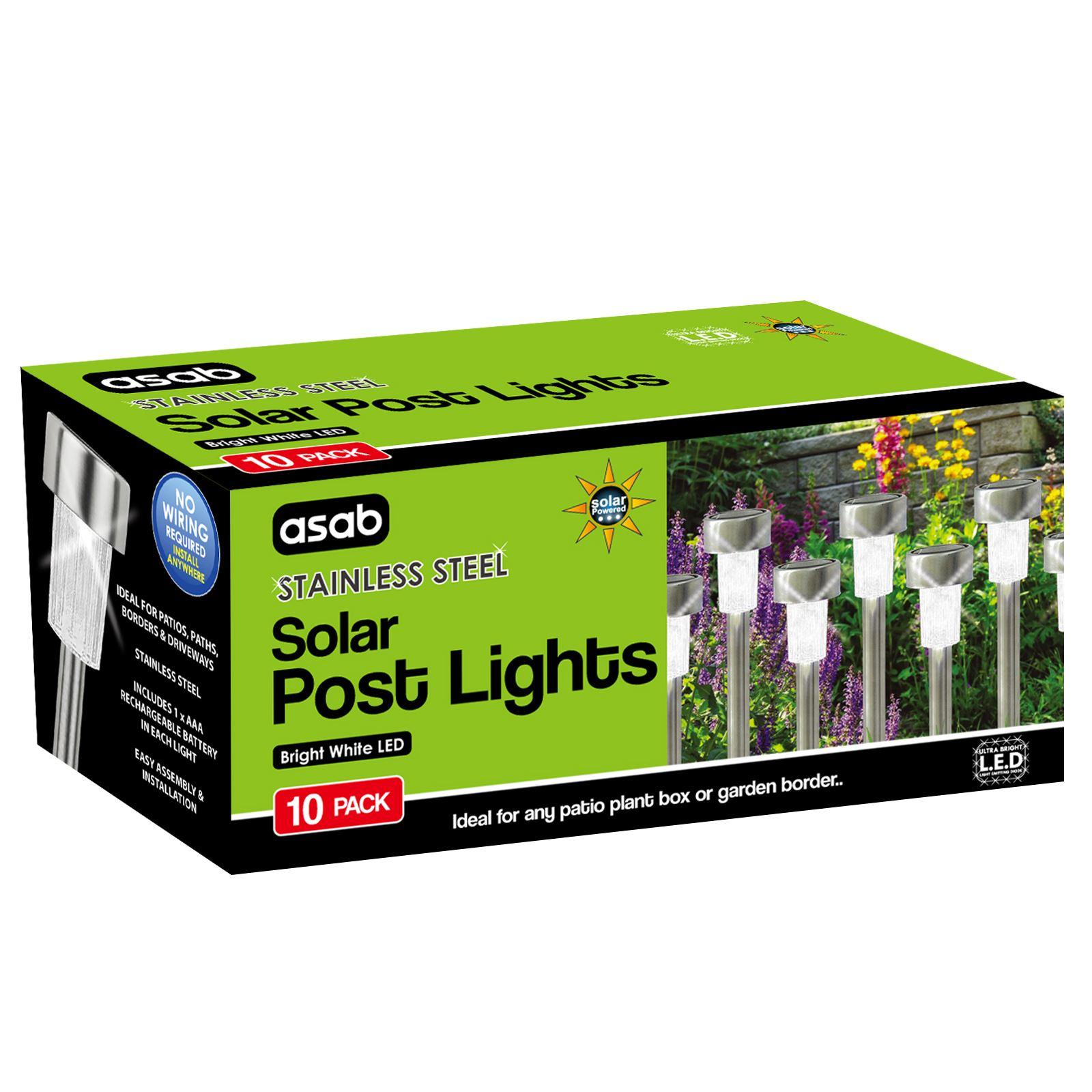 ASAB-10-x-Solar-Powered-Stainless-Steel-Garden-Post-Lights-LED-Outdoor-Lighting thumbnail 22