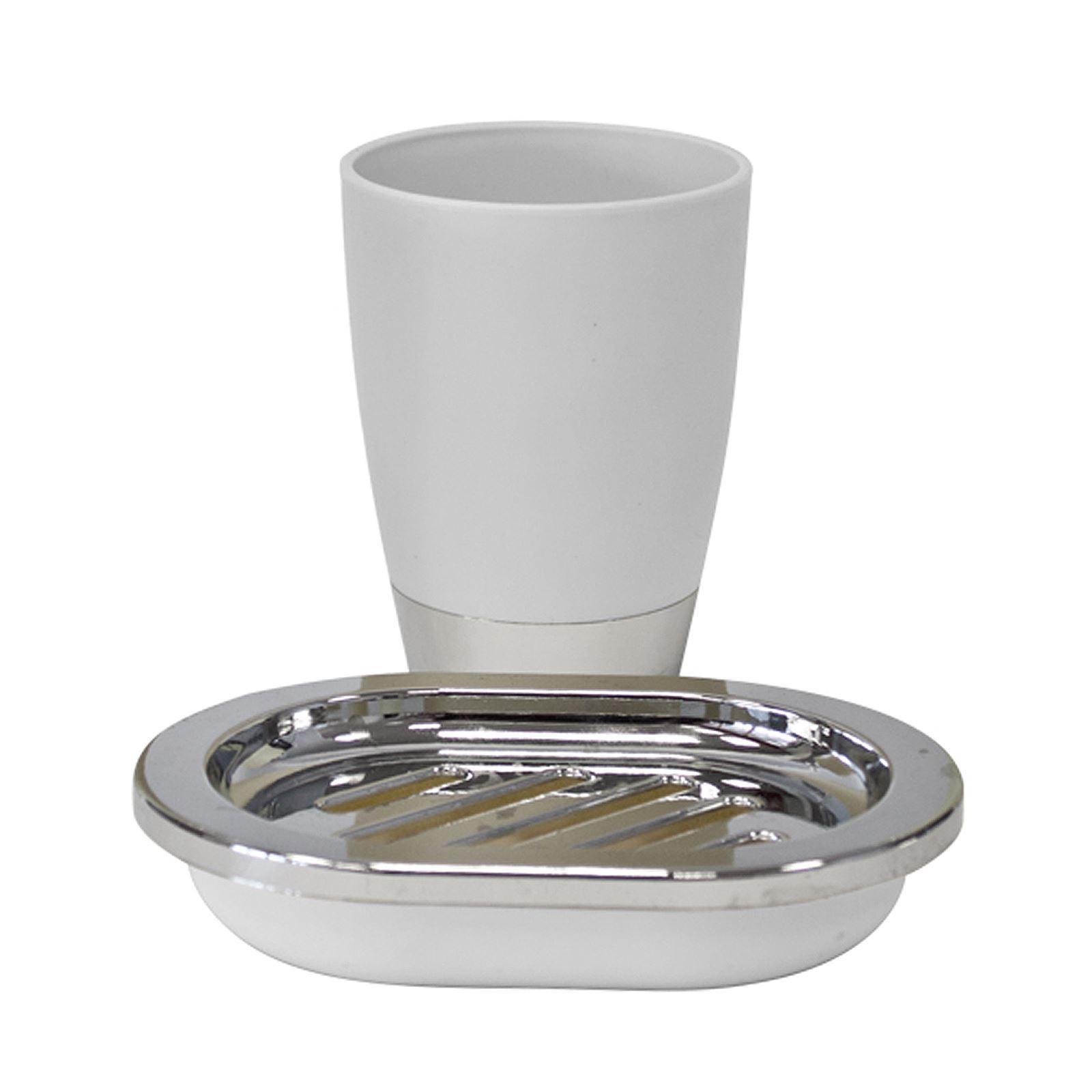 4pc Elegant Bathroom Accessory Set Round Brush Soap Holder Dispenser ...