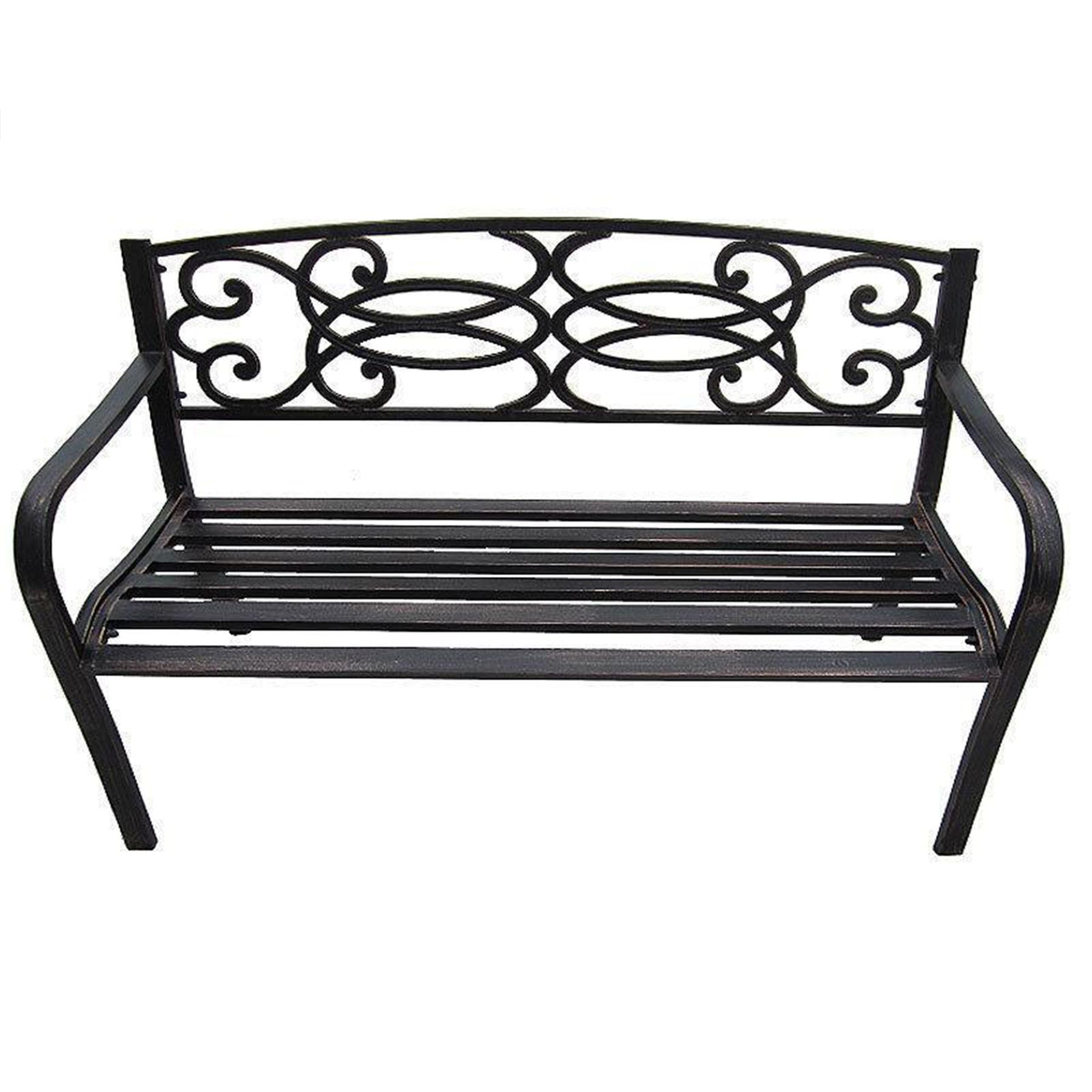 Garden Bench 3 Seater Outdoor Home Patio Furniture Wooden Metal Legs Lattice  eBay