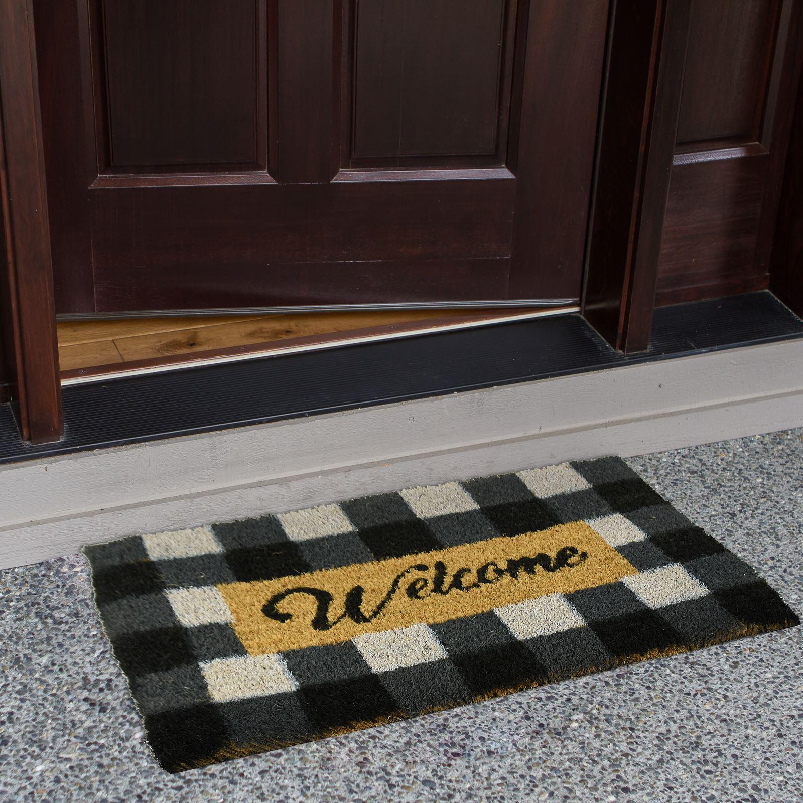 Plain-Non-Slip-Door-Mat-Tough-Natural-Coir-PVC-Back-Welcome-Doormat-40-x-60cm miniatura 14