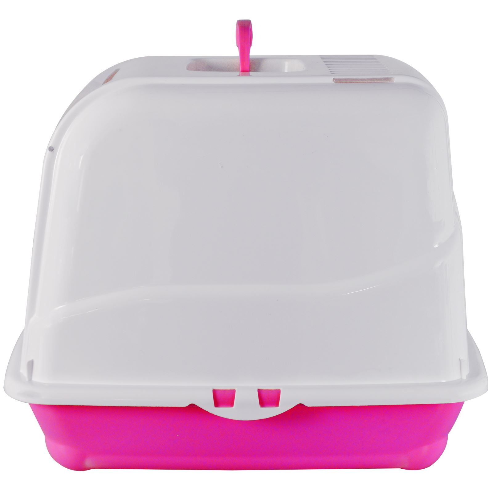 Pet Cat Litter Box Hooded Tray Toilet Loo Flip Swing Door Portable Carry Handle