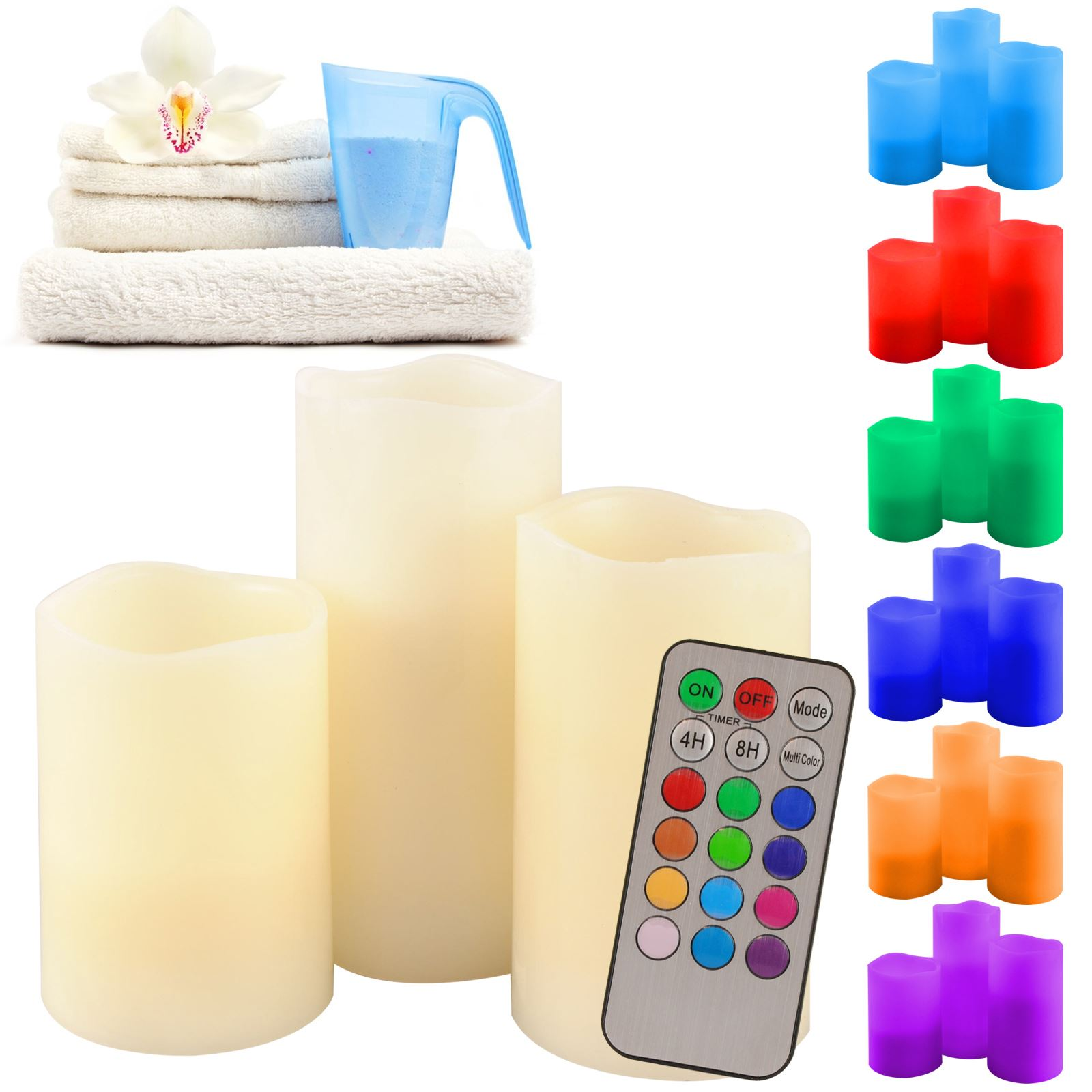 Scented Electric Candles Battery Flameless Led Rgb