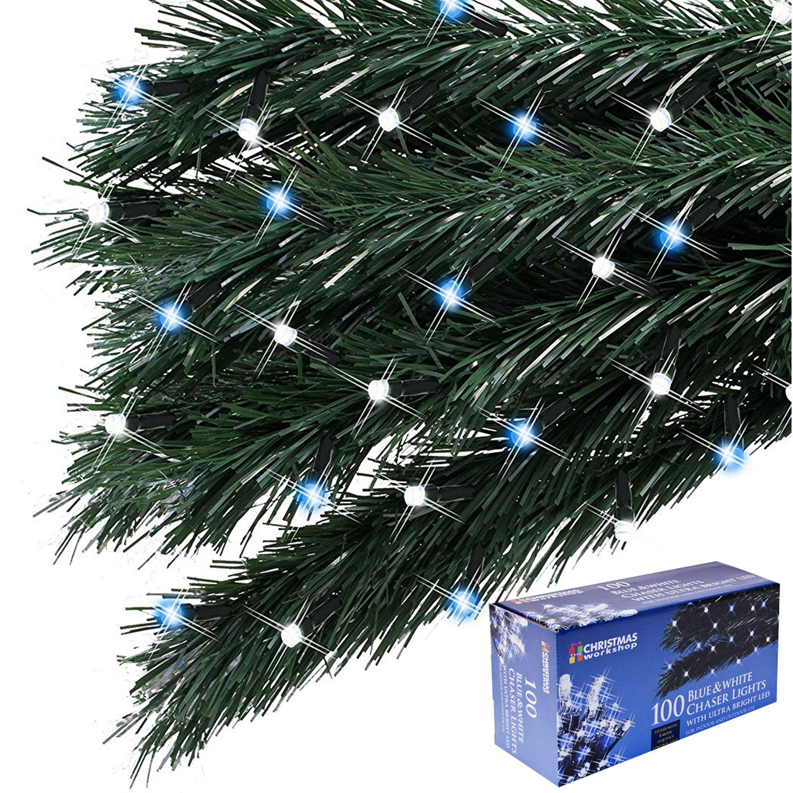 100 led chaser christmas string lights flash xmas
