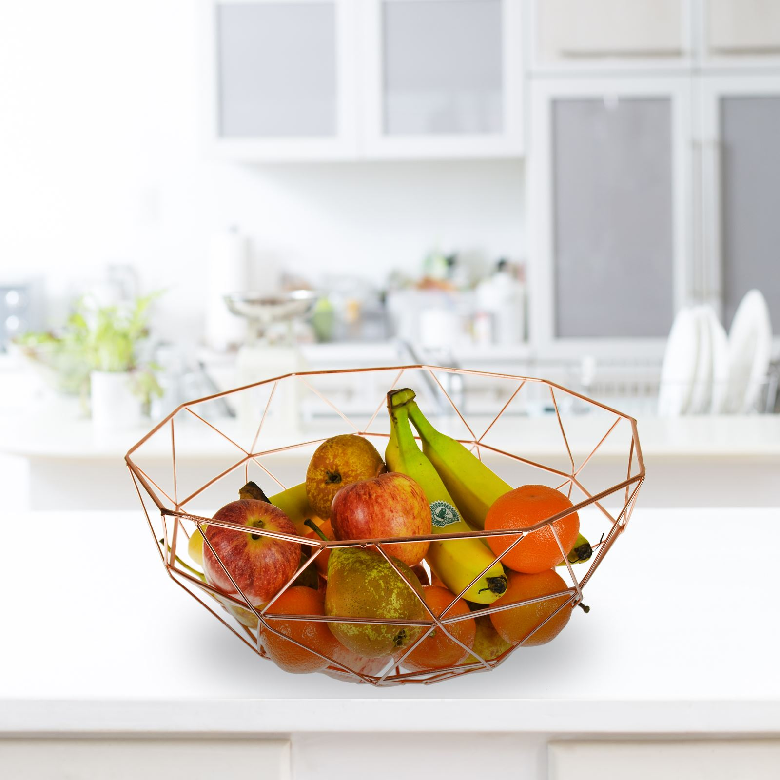 Details about Copper Kitchen Accessory Set Fruit Basket Utensil Roll Holder  Iron Wire Stand
