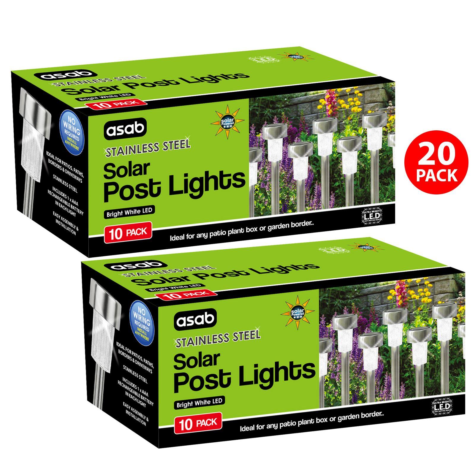 ASAB-10-x-a-energie-solaire-en-acier-inoxydable-jardin-poste-lumieres-DEL-eclairage-exterieur miniature 20