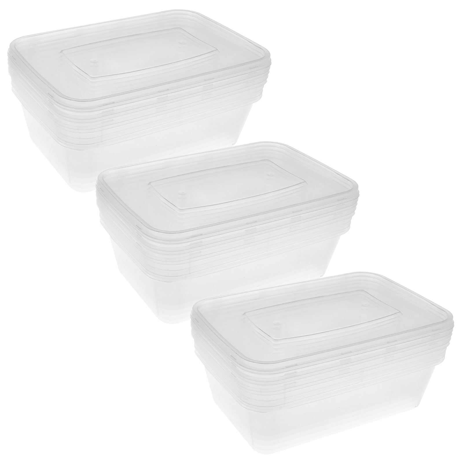 small clear plastic food storage containers with lids meal prep lunch box tubs ebay. Black Bedroom Furniture Sets. Home Design Ideas