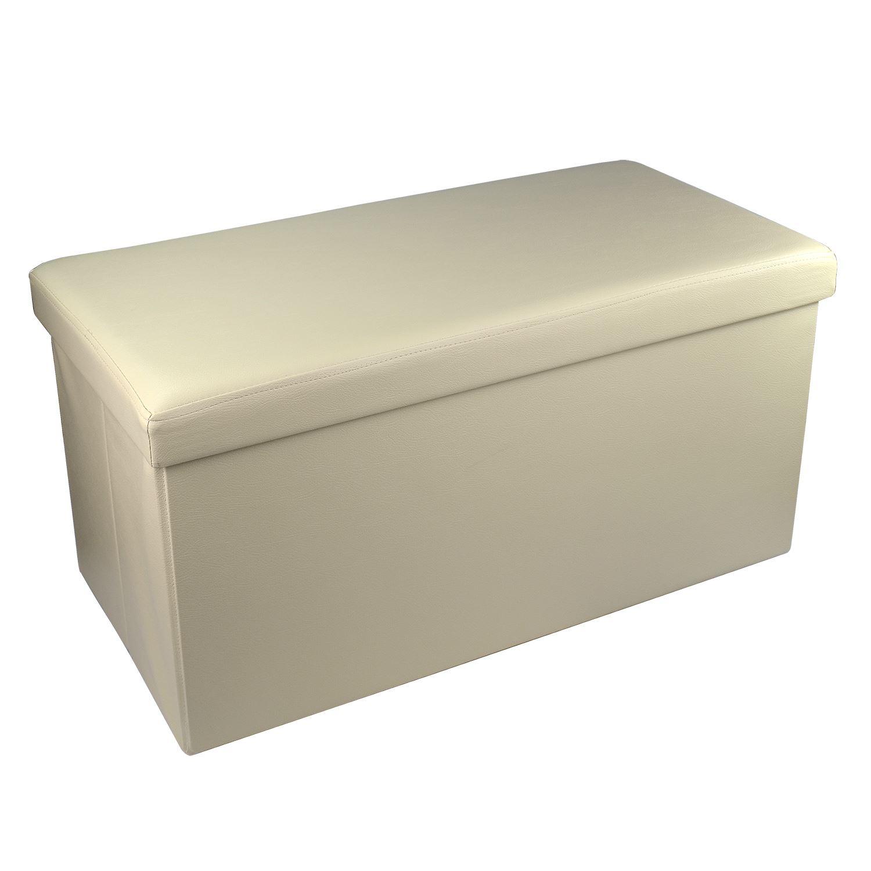 Large Faux Leather Ottoman Folding Storage Box Pouffe Foot